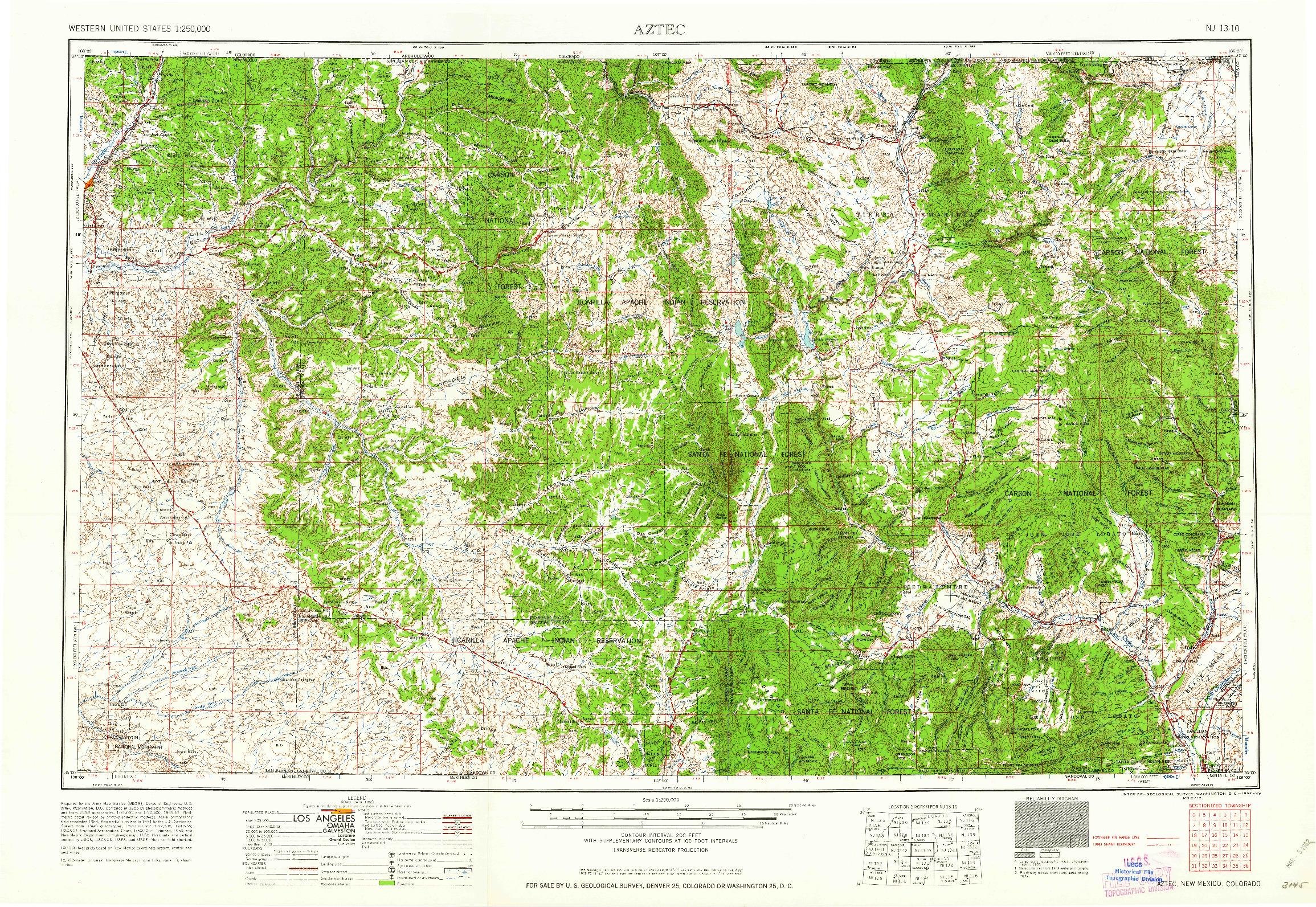 USGS 1:250000-SCALE QUADRANGLE FOR AZTEC, NM 1962