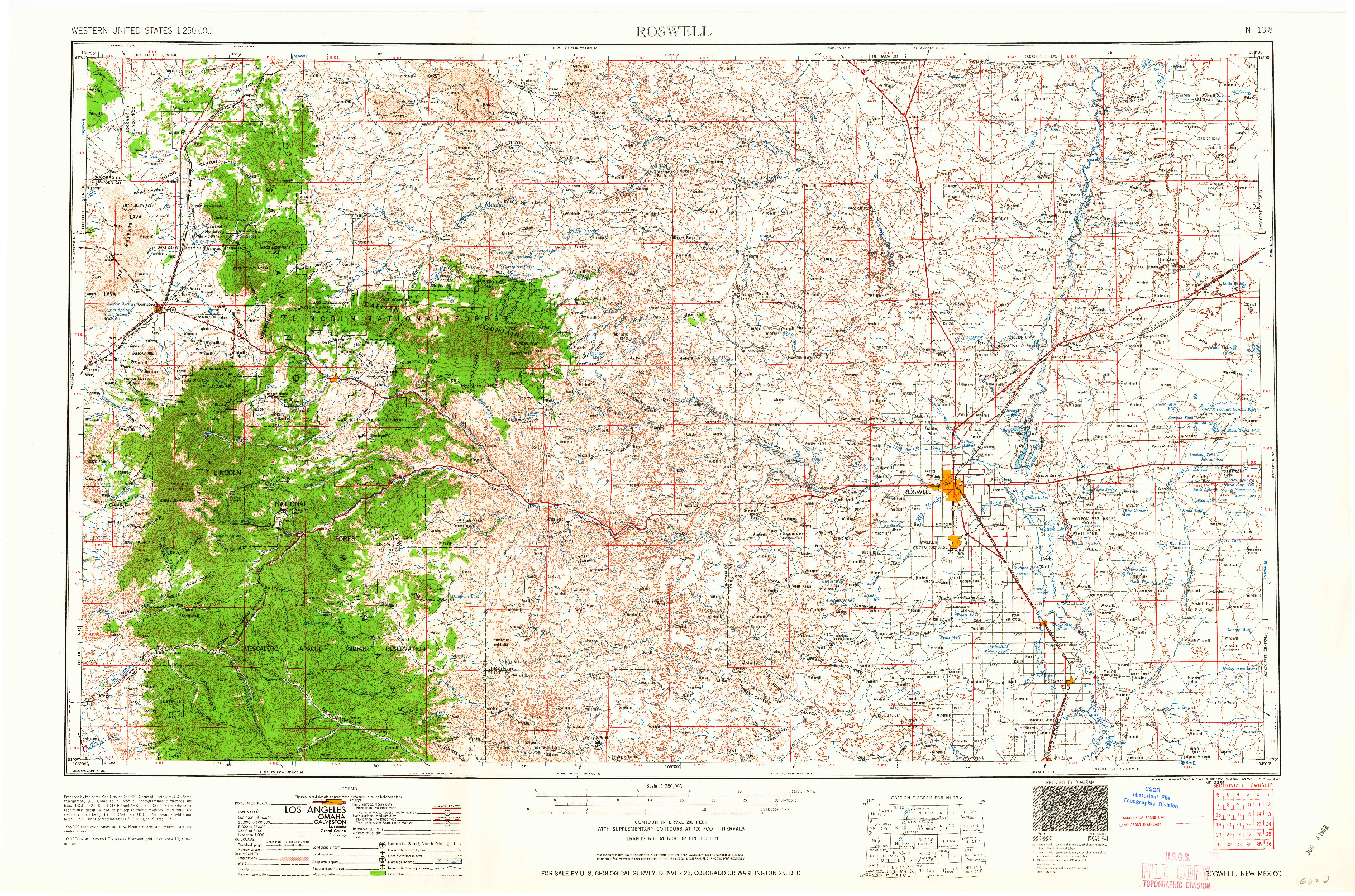 USGS 1:250000-SCALE QUADRANGLE FOR ROSWELL, NM 1962