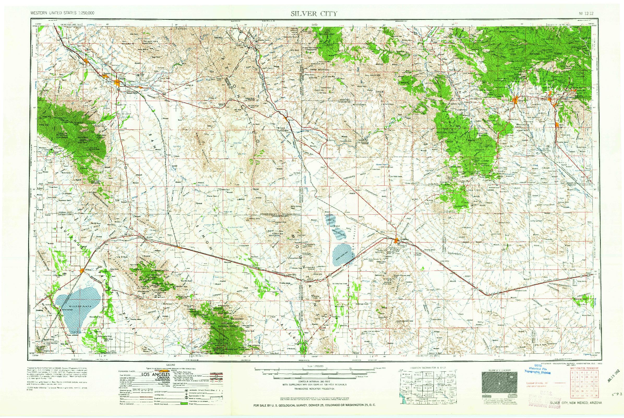 USGS 1:250000-SCALE QUADRANGLE FOR SILVER CITY, NM 1962
