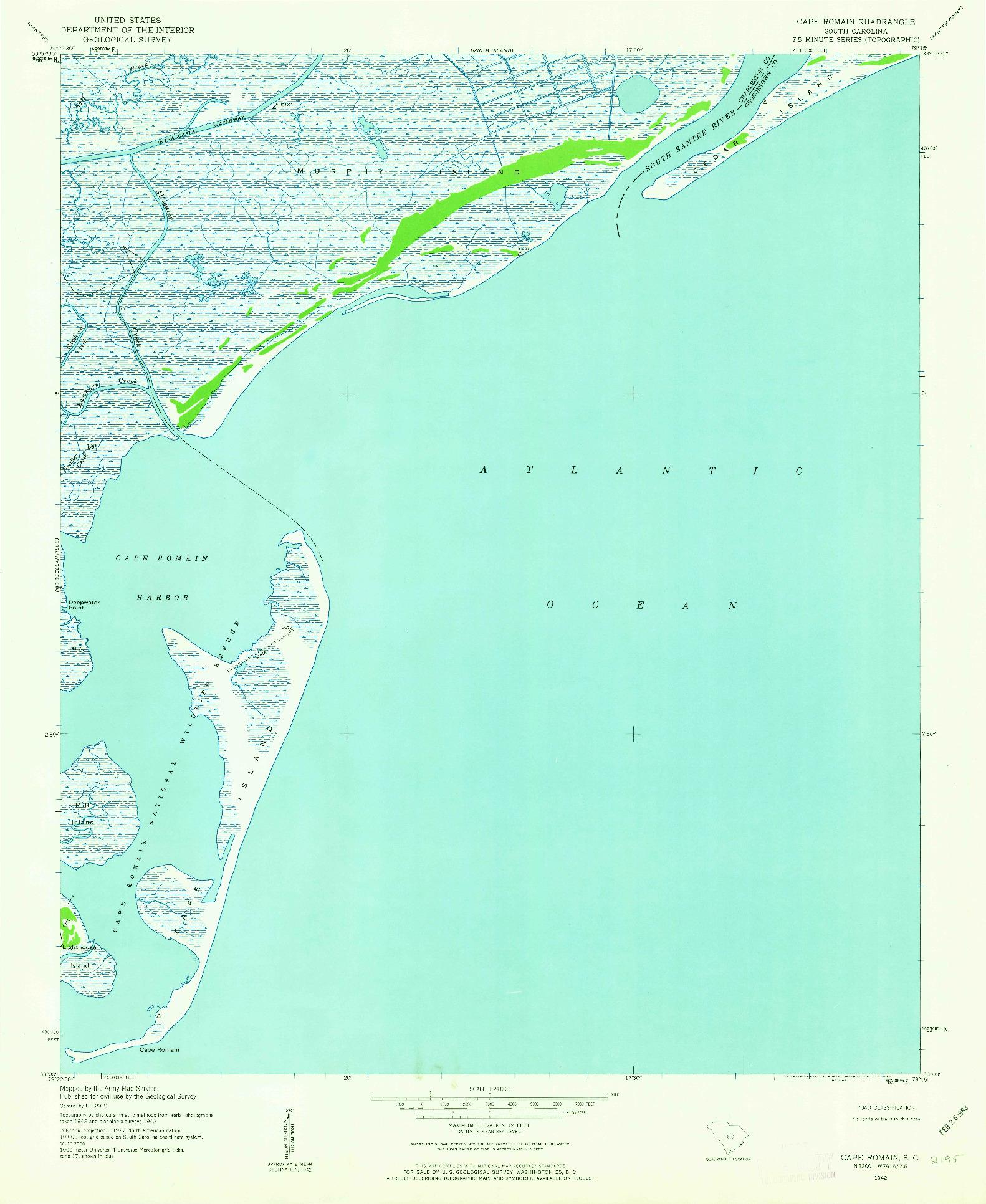USGS 1:24000-SCALE QUADRANGLE FOR CAPE ROMAIN, SC 1942