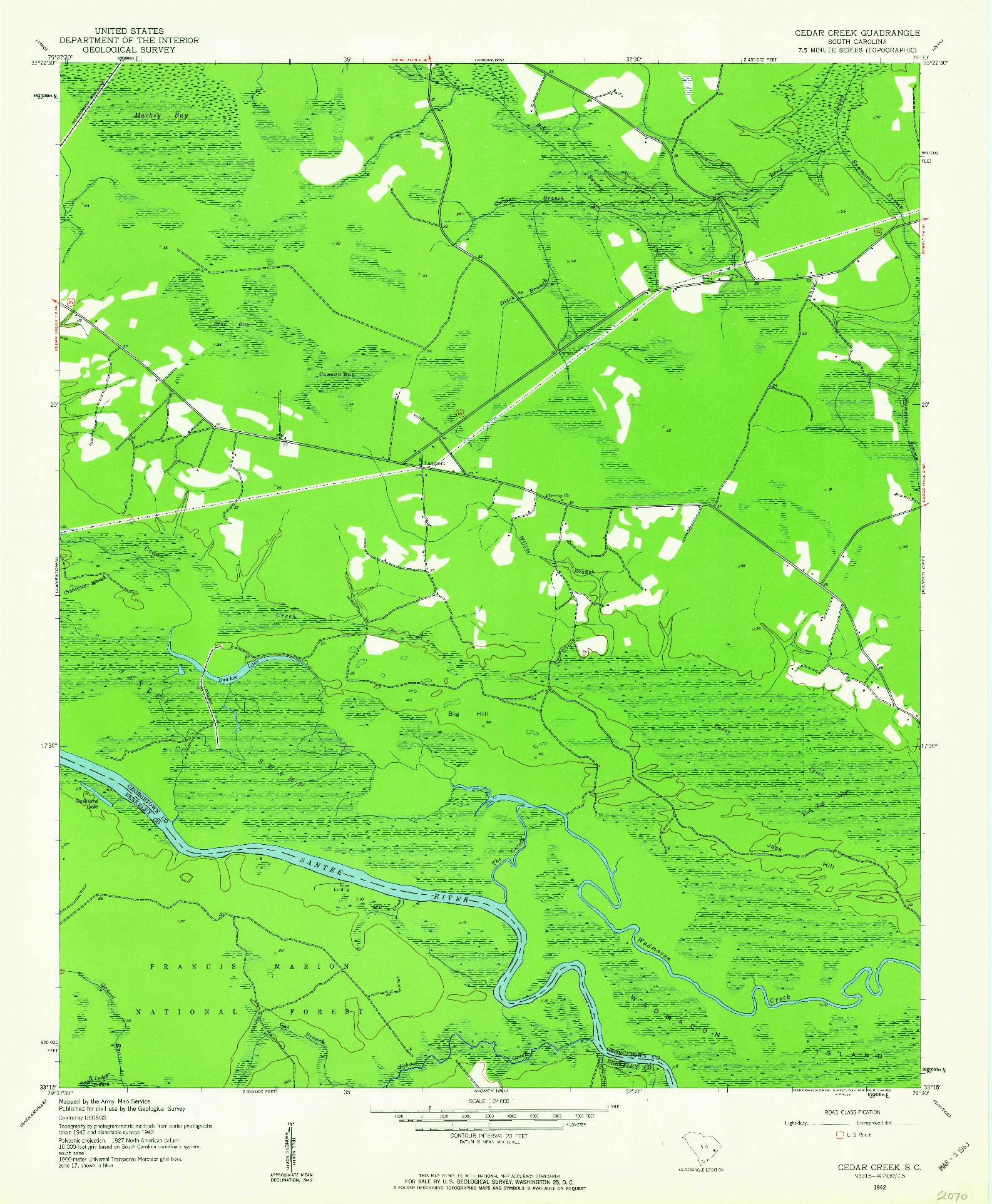 USGS 1:24000-SCALE QUADRANGLE FOR CEDAR CREEK, SC 1942