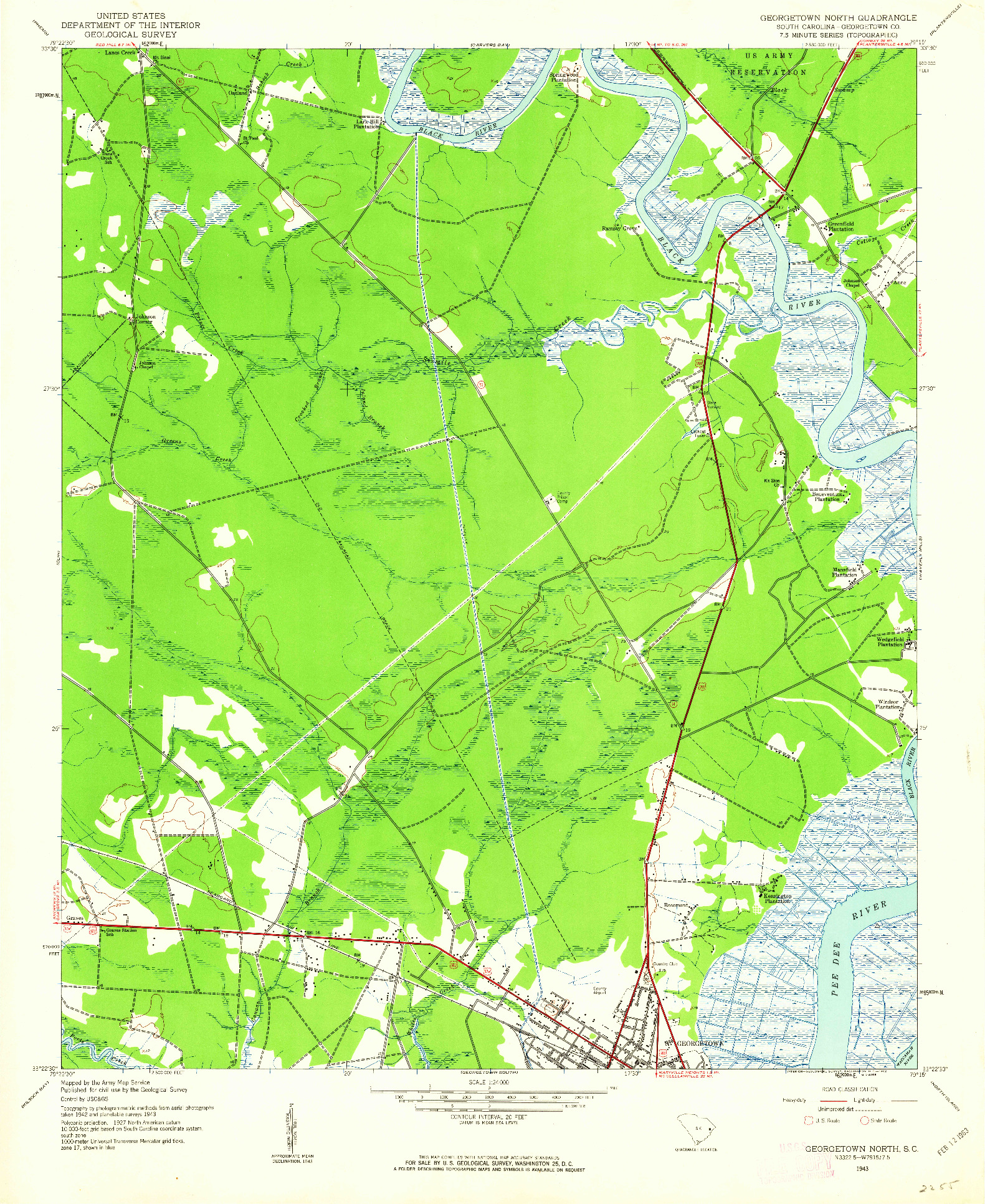 USGS 1:24000-SCALE QUADRANGLE FOR GEORGETOWN NORTH, SC 1943