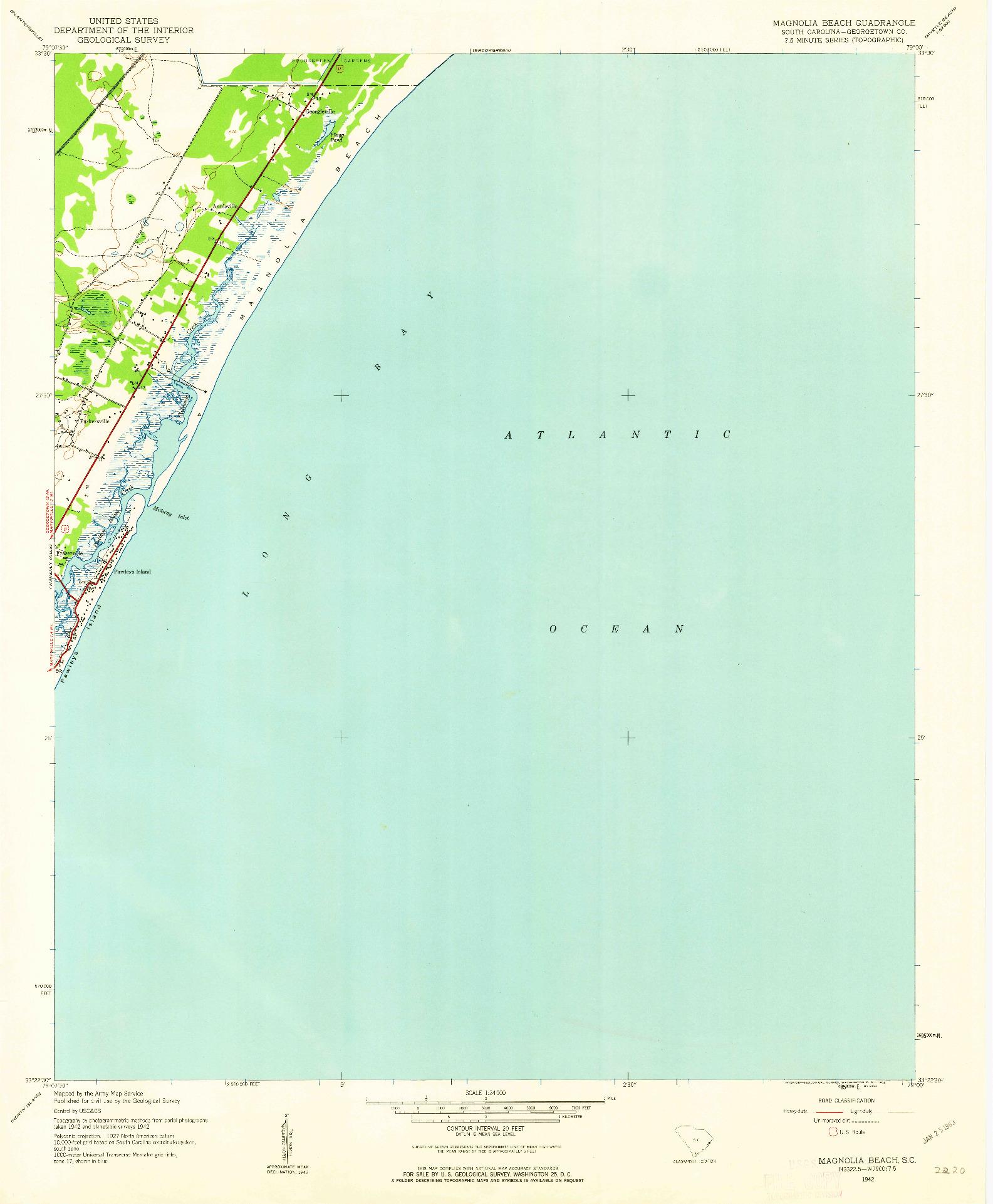 USGS 1:24000-SCALE QUADRANGLE FOR MAGNOLIA BEACH, SC 1942
