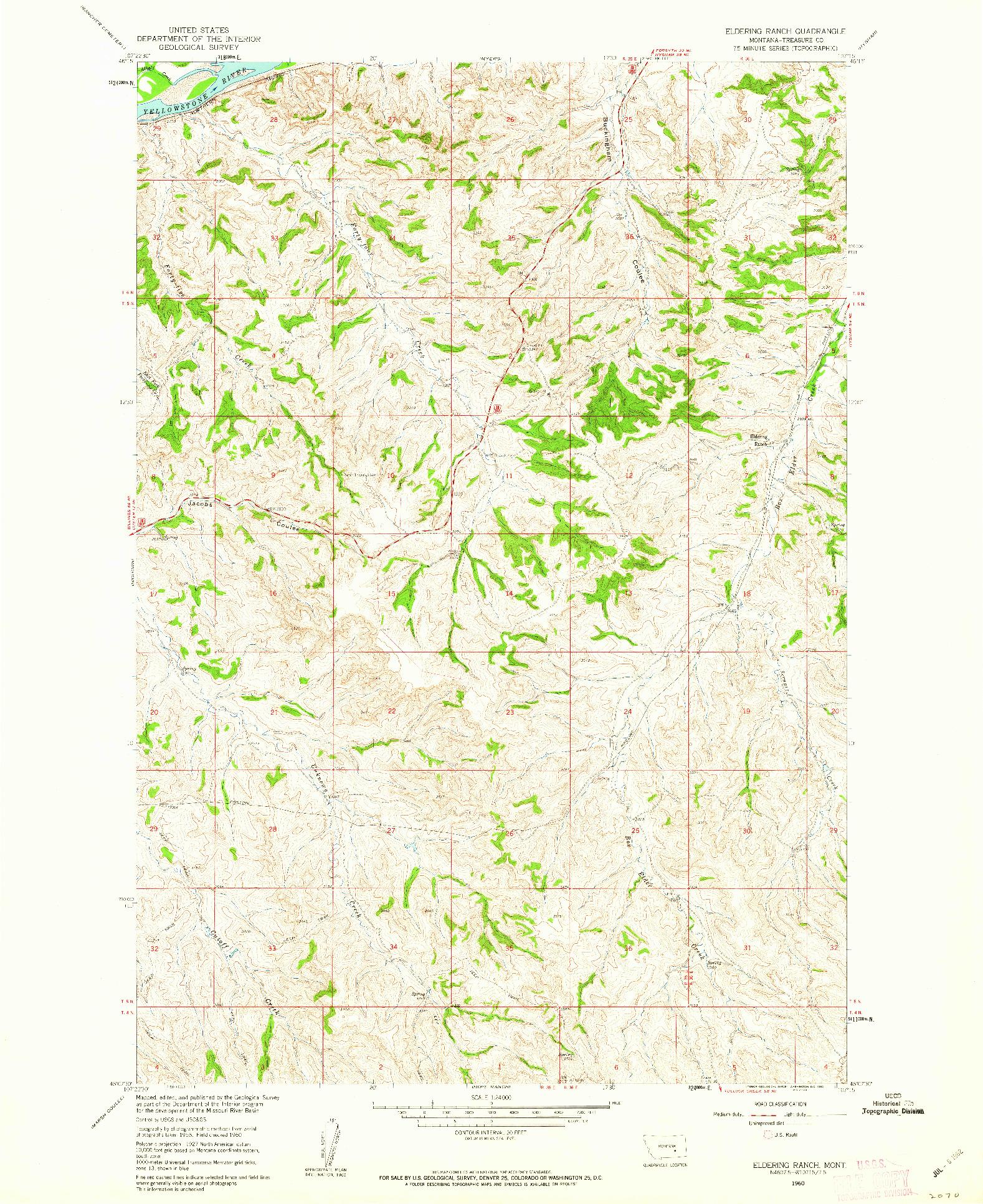 USGS 1:24000-SCALE QUADRANGLE FOR ELDERING RANCH, MT 1960