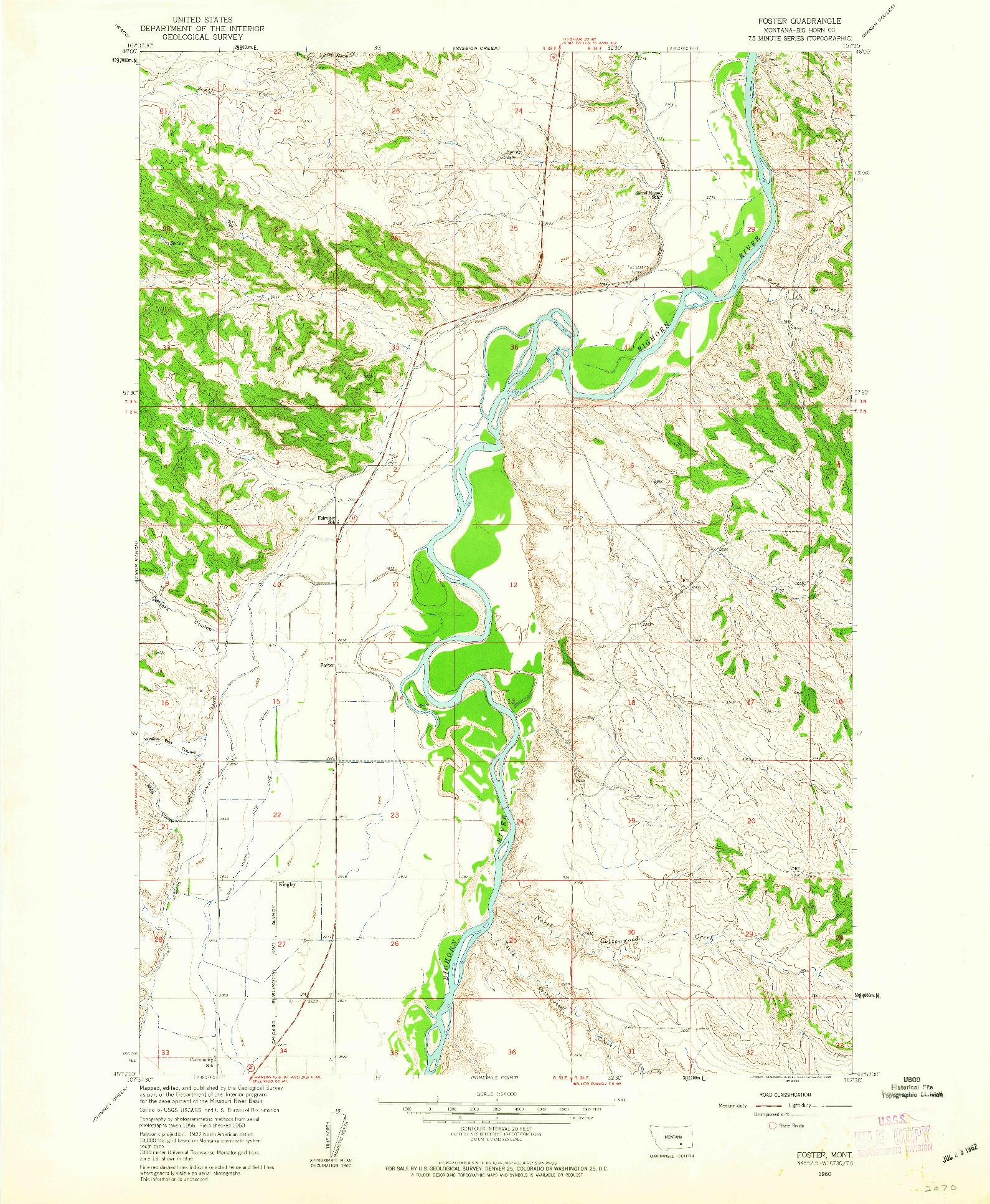 USGS 1:24000-SCALE QUADRANGLE FOR FOSTER, MT 1960