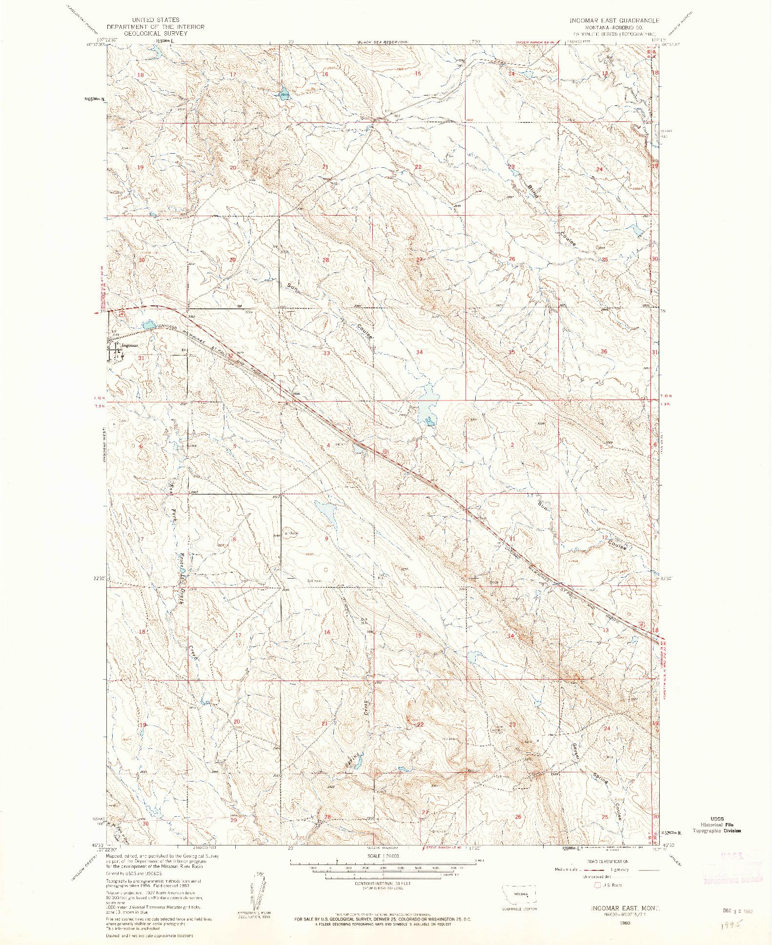 USGS 1:24000-SCALE QUADRANGLE FOR INGOMAR EAST, MT 1960