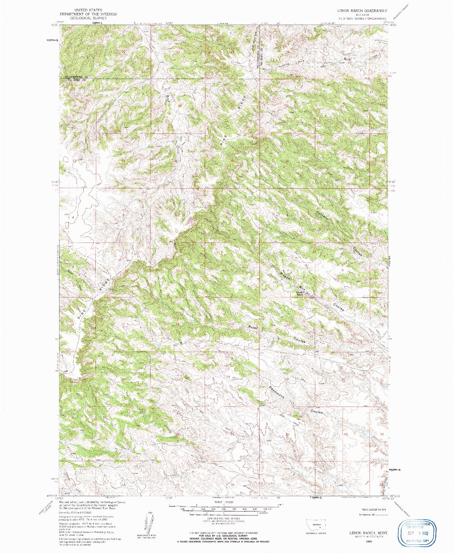 USGS 1:24000-SCALE QUADRANGLE FOR LEMON RANCH, MT 1960