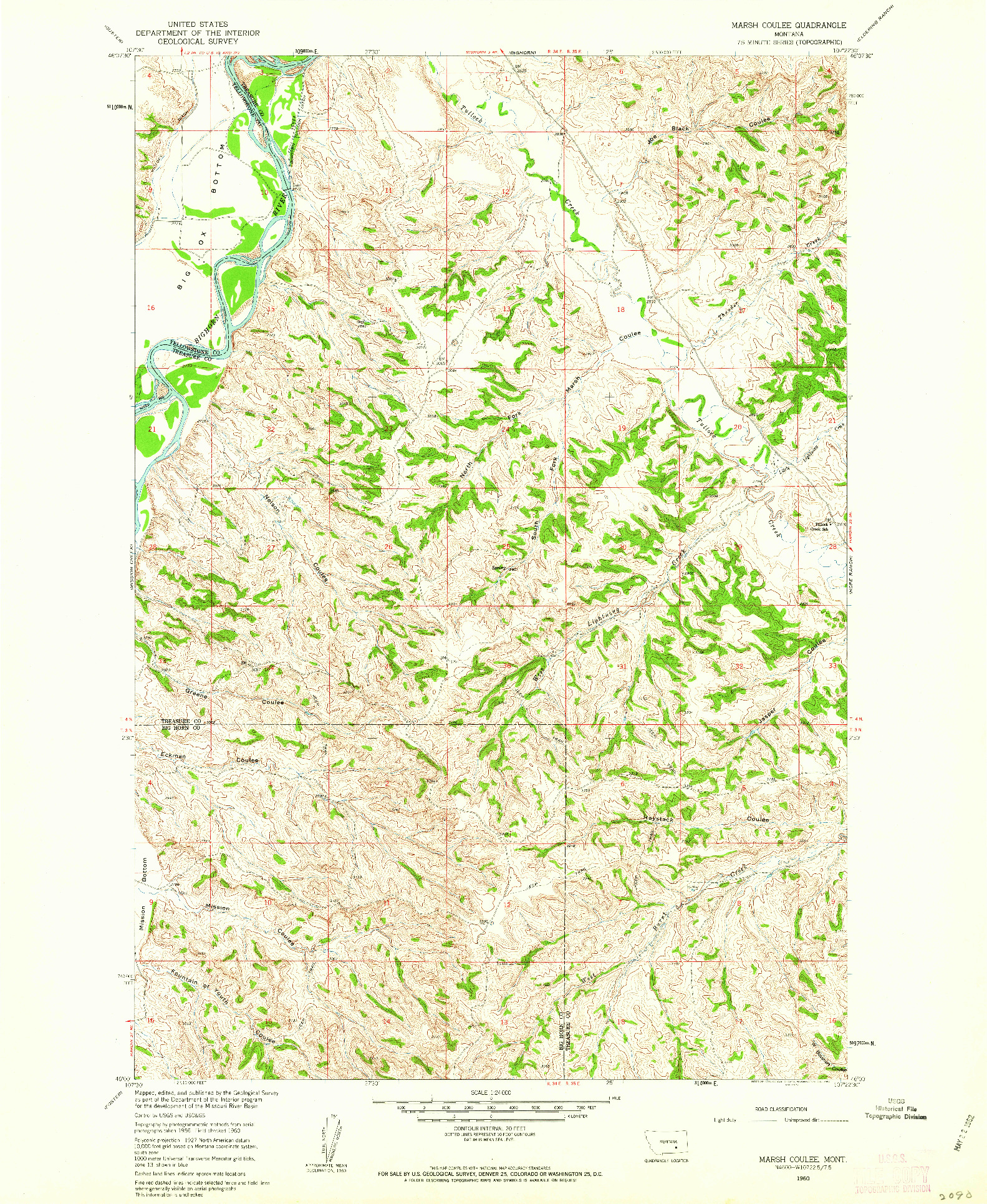 USGS 1:24000-SCALE QUADRANGLE FOR MARSH COULEE, MT 1960