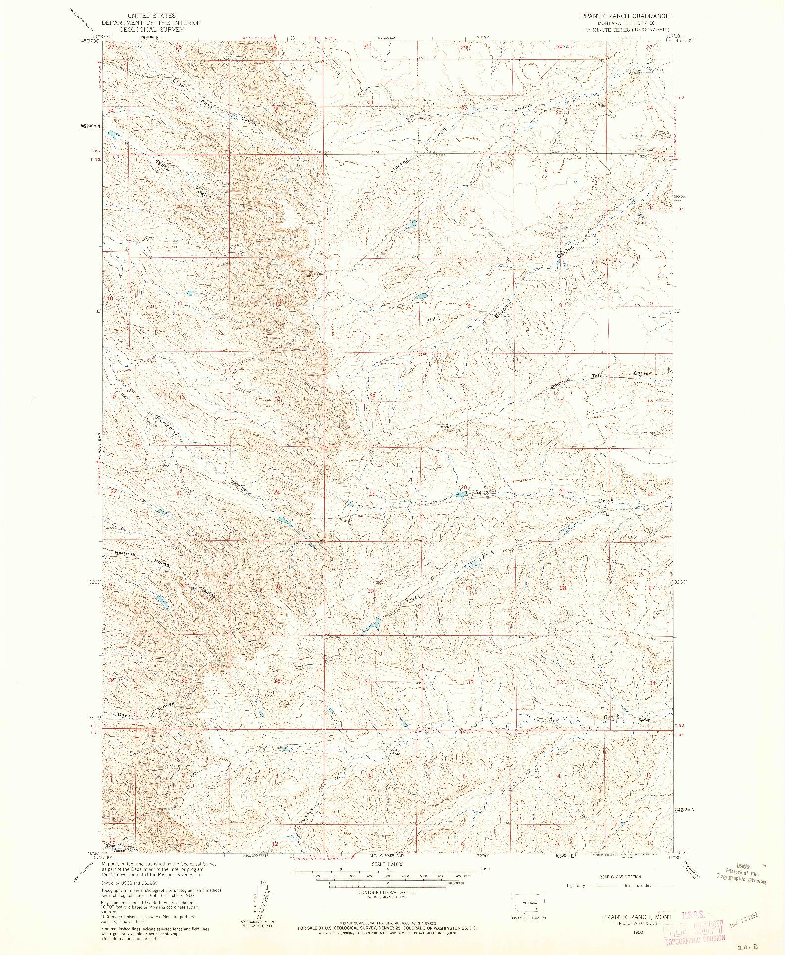 USGS 1:24000-SCALE QUADRANGLE FOR PRANTE RANCH, MT 1960