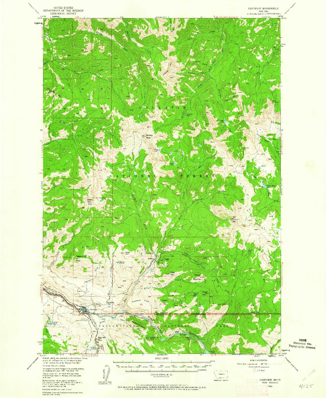 USGS 1:62500-SCALE QUADRANGLE FOR GARDINER, MT 1955