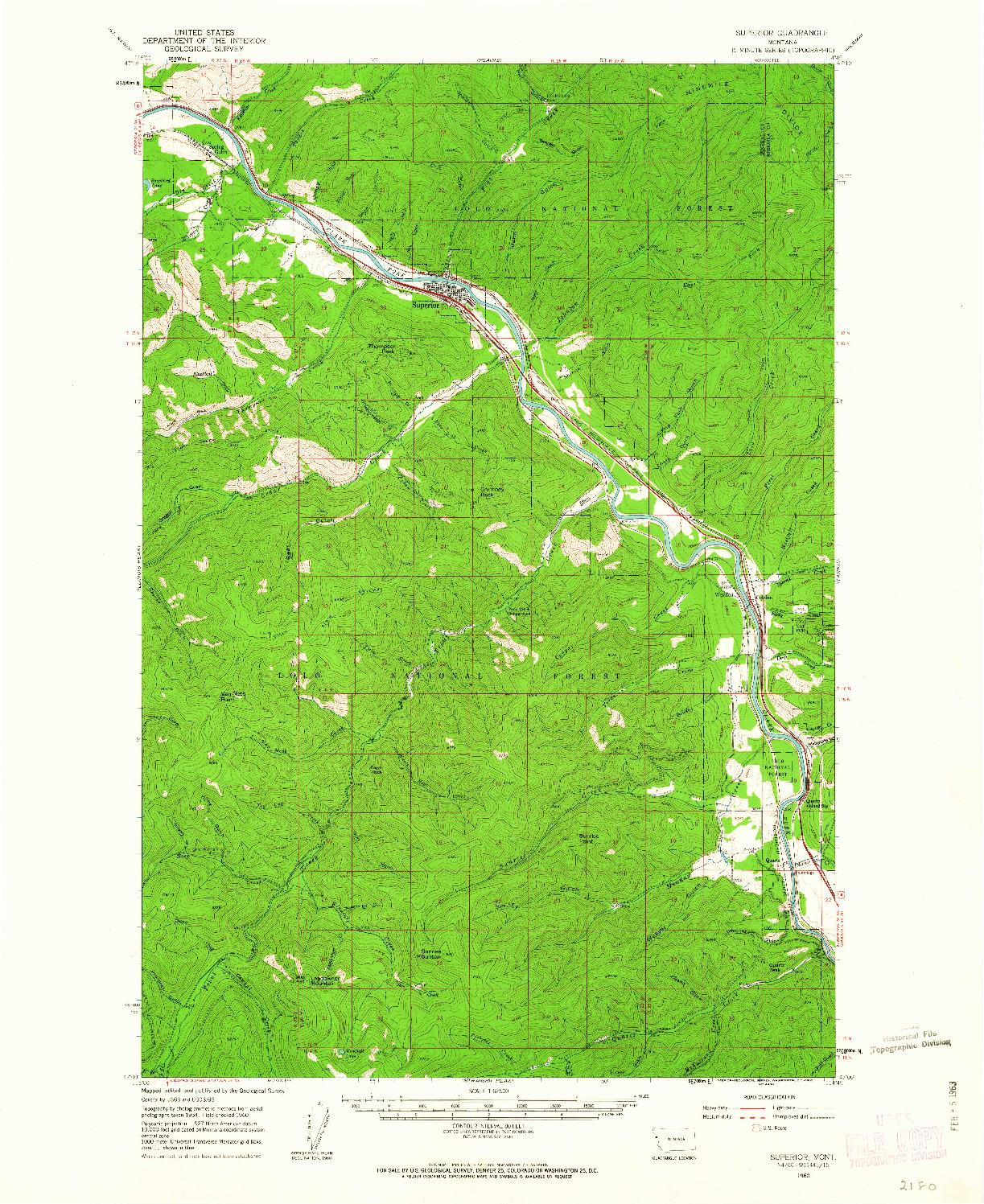 USGS 1:62500-SCALE QUADRANGLE FOR SUPERIOR, MT 1960