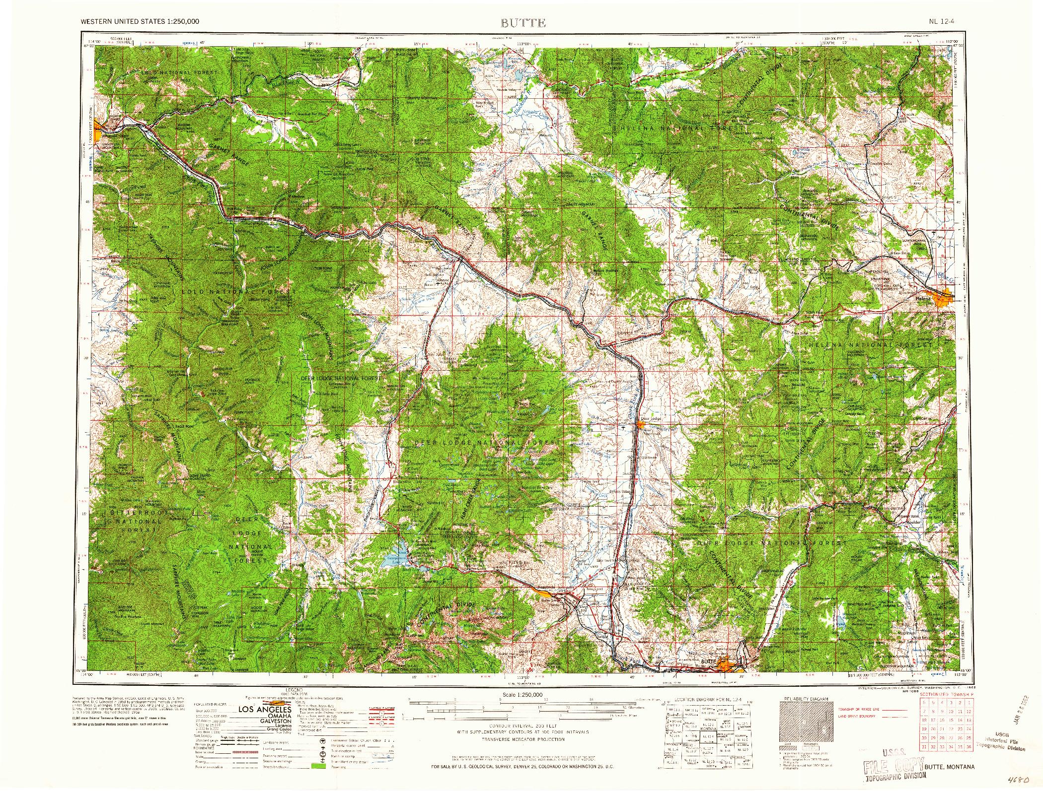 USGS 1:250000-SCALE QUADRANGLE FOR BUTTE, MT 1962