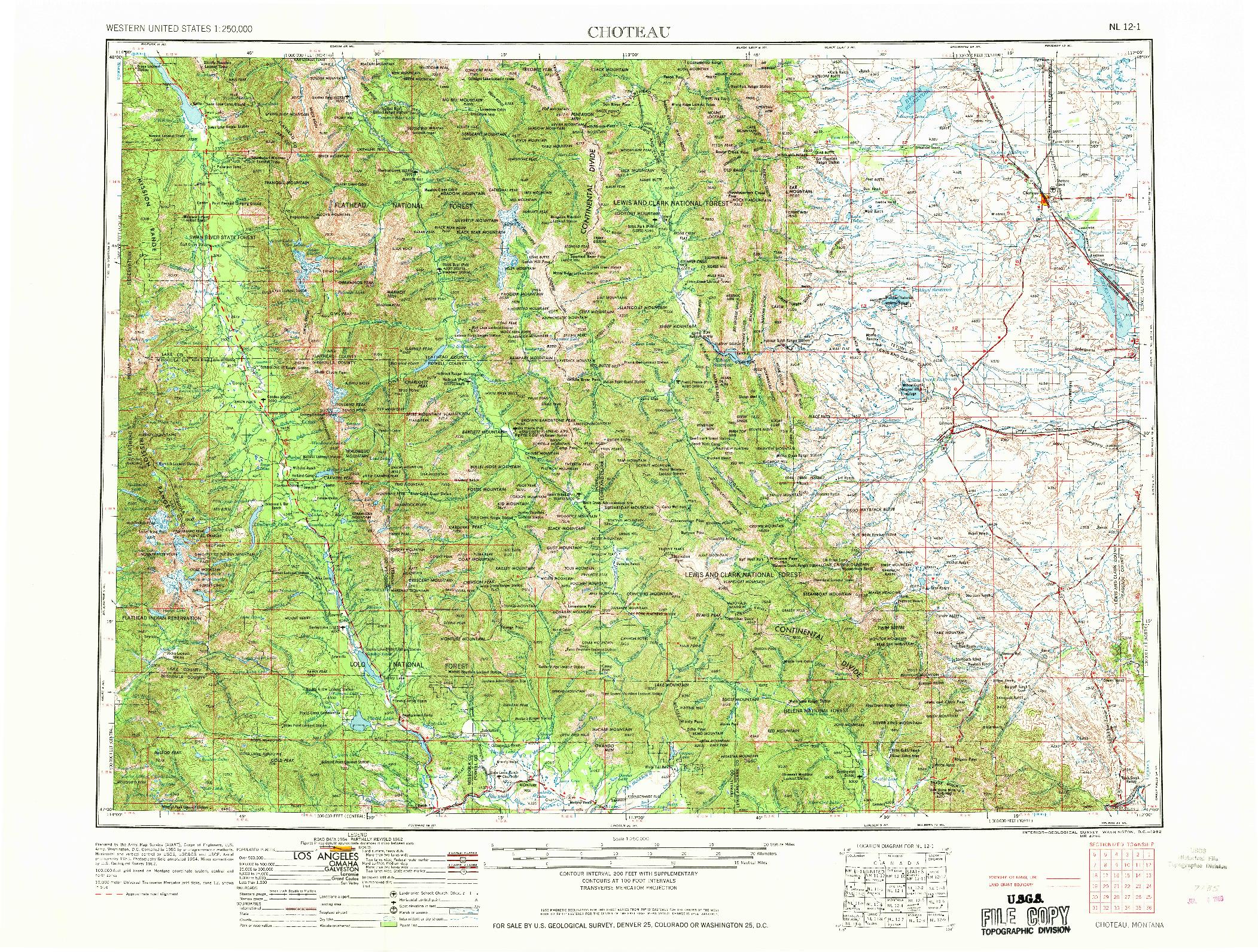 USGS 1:250000-SCALE QUADRANGLE FOR CHOTEAU, MT 1962