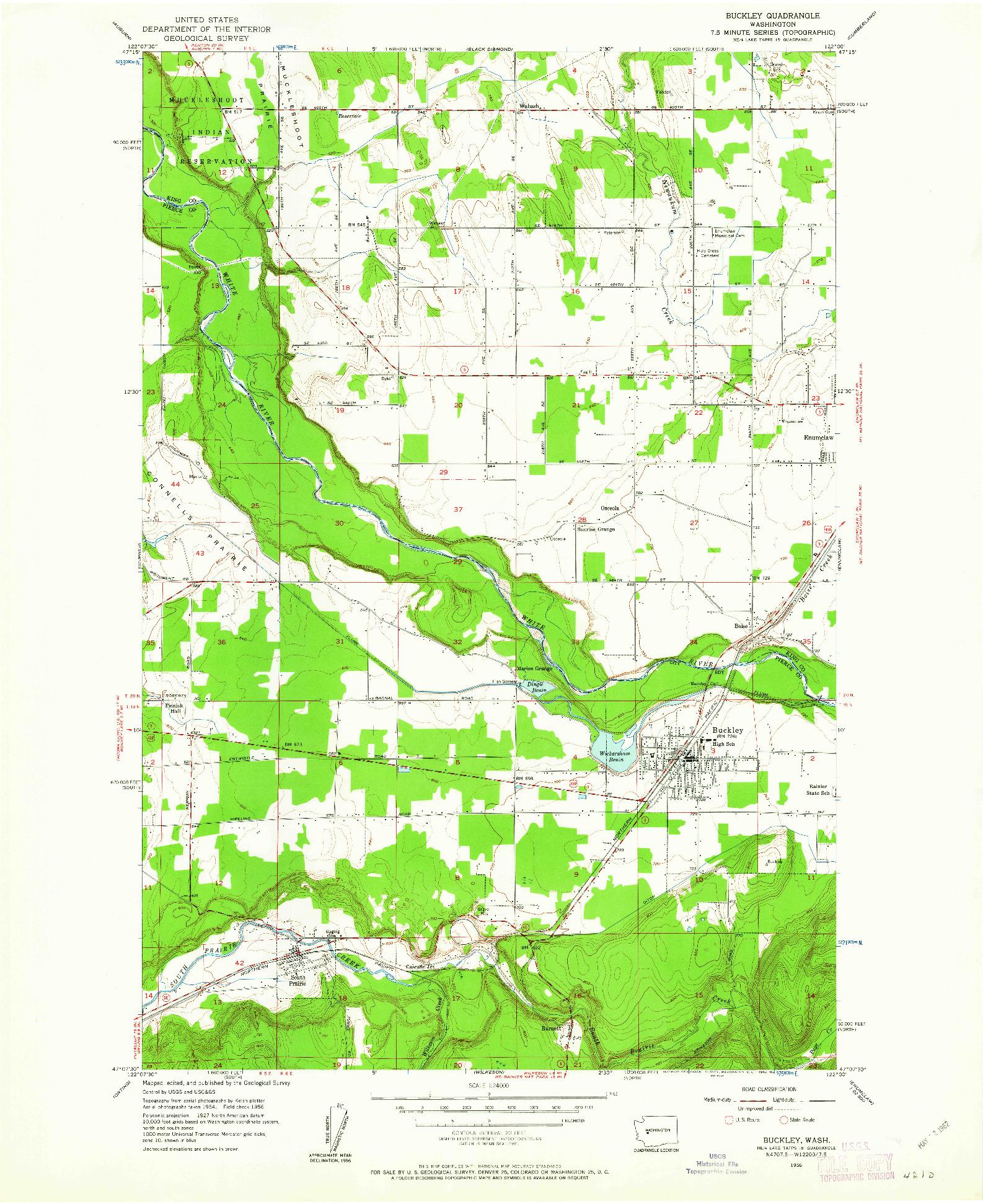 USGS 1:24000-SCALE QUADRANGLE FOR BUCKLEY, WA 1956