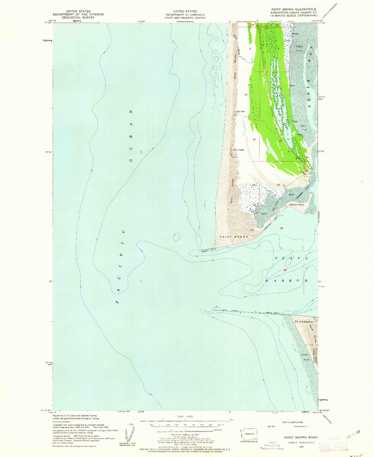 USGS 1:24000-SCALE QUADRANGLE FOR POINT BROWN, WA 1955