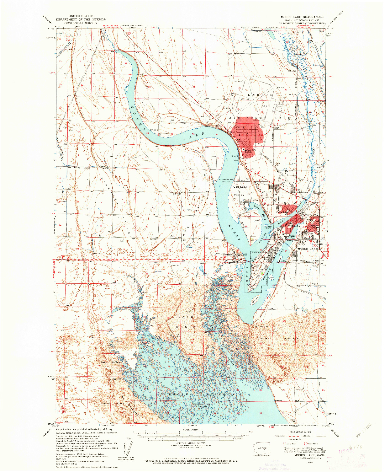 USGS 1:62500-SCALE QUADRANGLE FOR MOSES LAKE, WA 1956