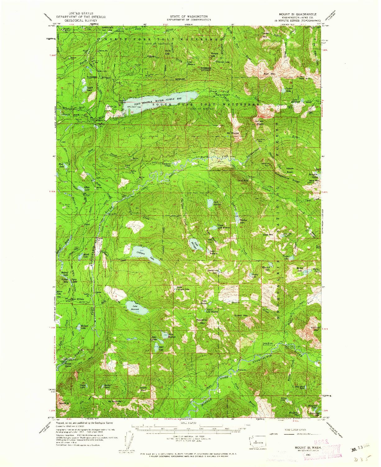 USGS 1:62500-SCALE QUADRANGLE FOR MOUNT SI, WA 1960