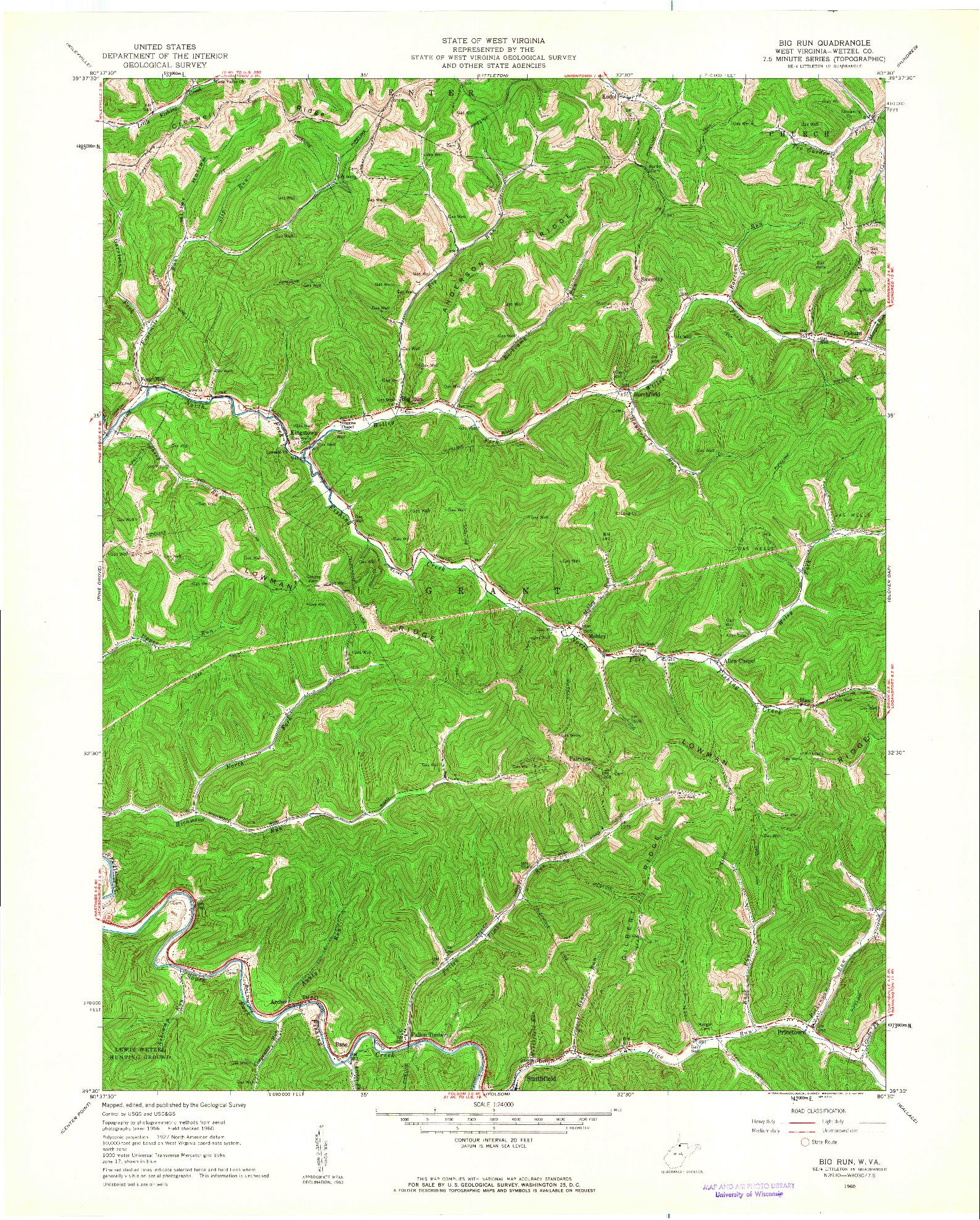 USGS 1:24000-SCALE QUADRANGLE FOR BIG RUN, WV 1960
