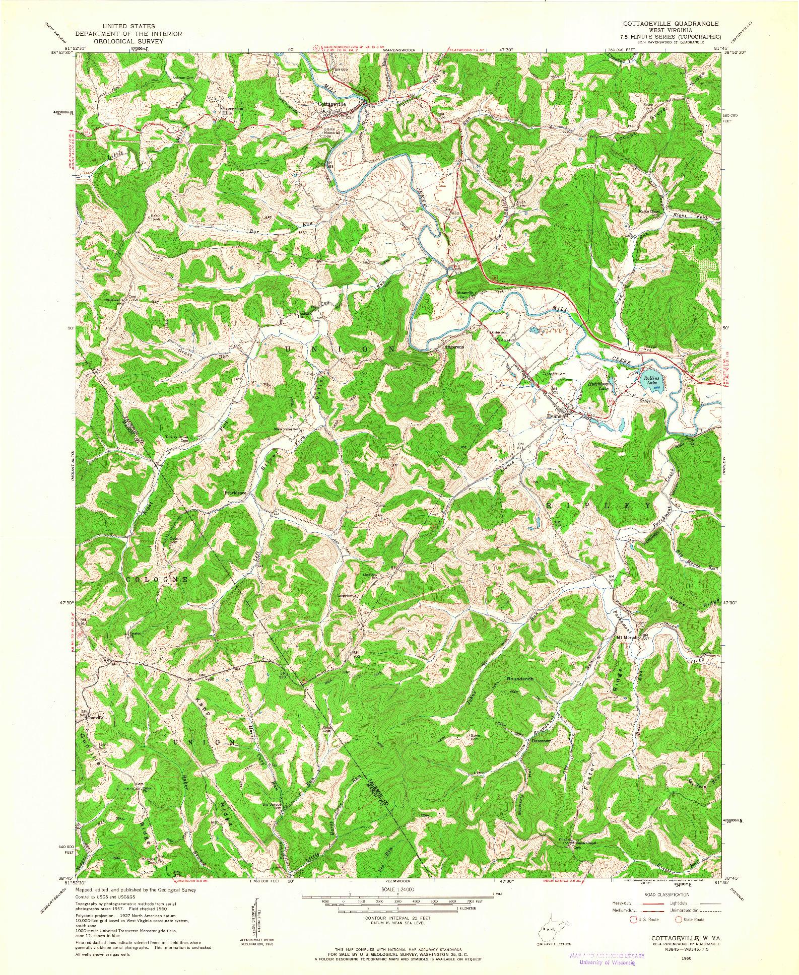 USGS 1:24000-SCALE QUADRANGLE FOR COTTAGEVILLE, WV 1960
