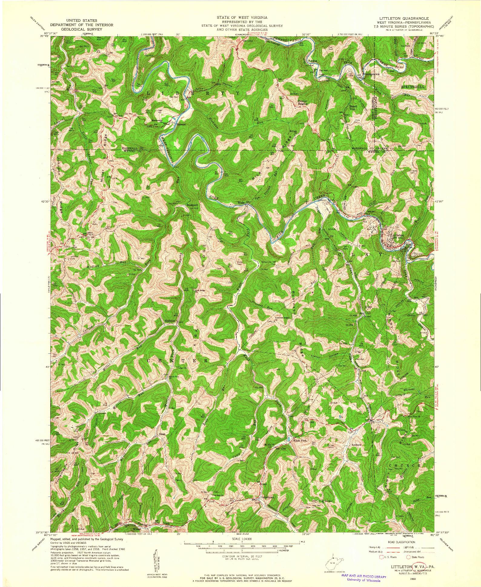 USGS 1:24000-SCALE QUADRANGLE FOR LITTLETON, WV 1960