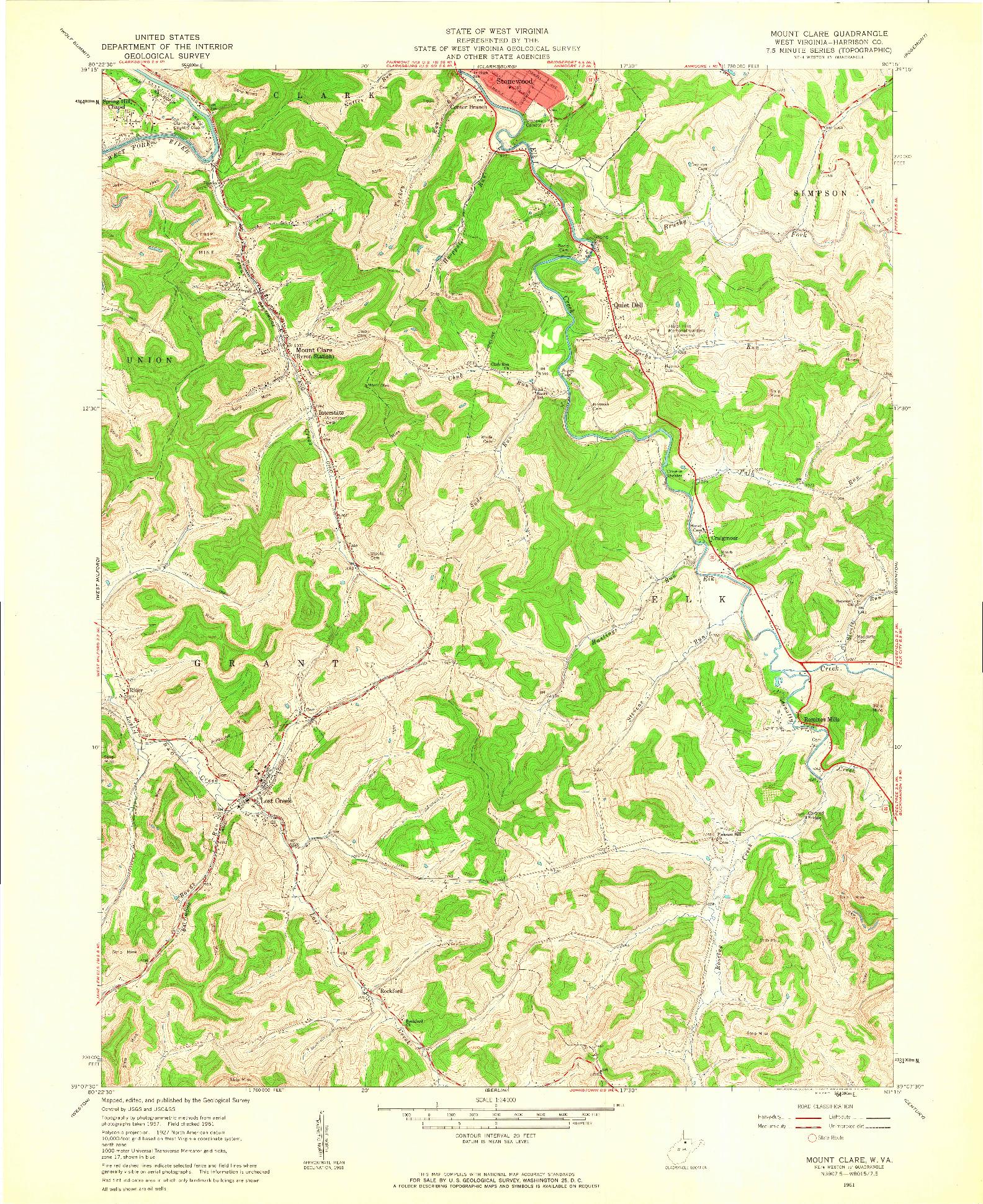 USGS 1:24000-SCALE QUADRANGLE FOR MOUNT CLARE, WV 1961