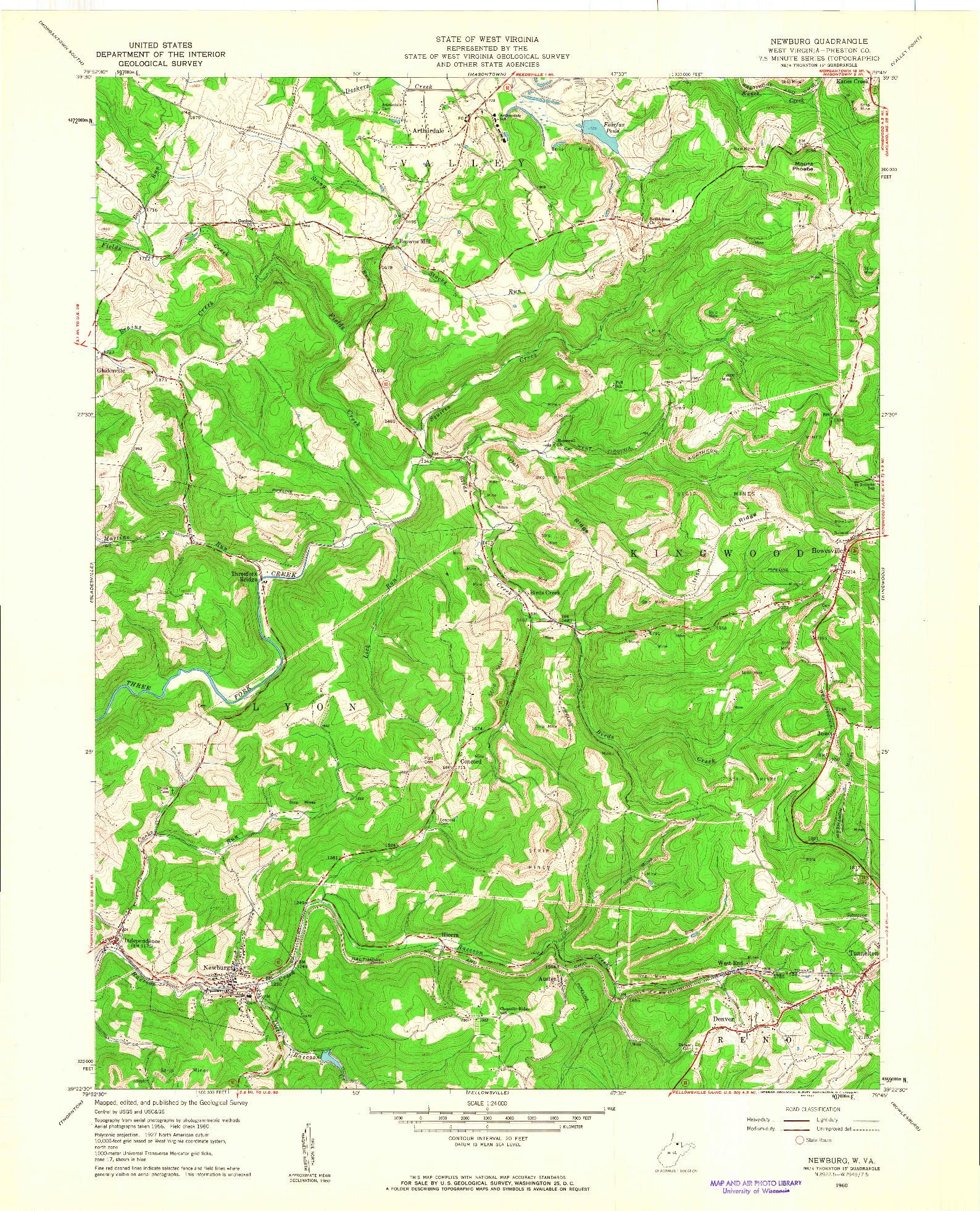 USGS 1:24000-SCALE QUADRANGLE FOR NEWBURG, WV 1960