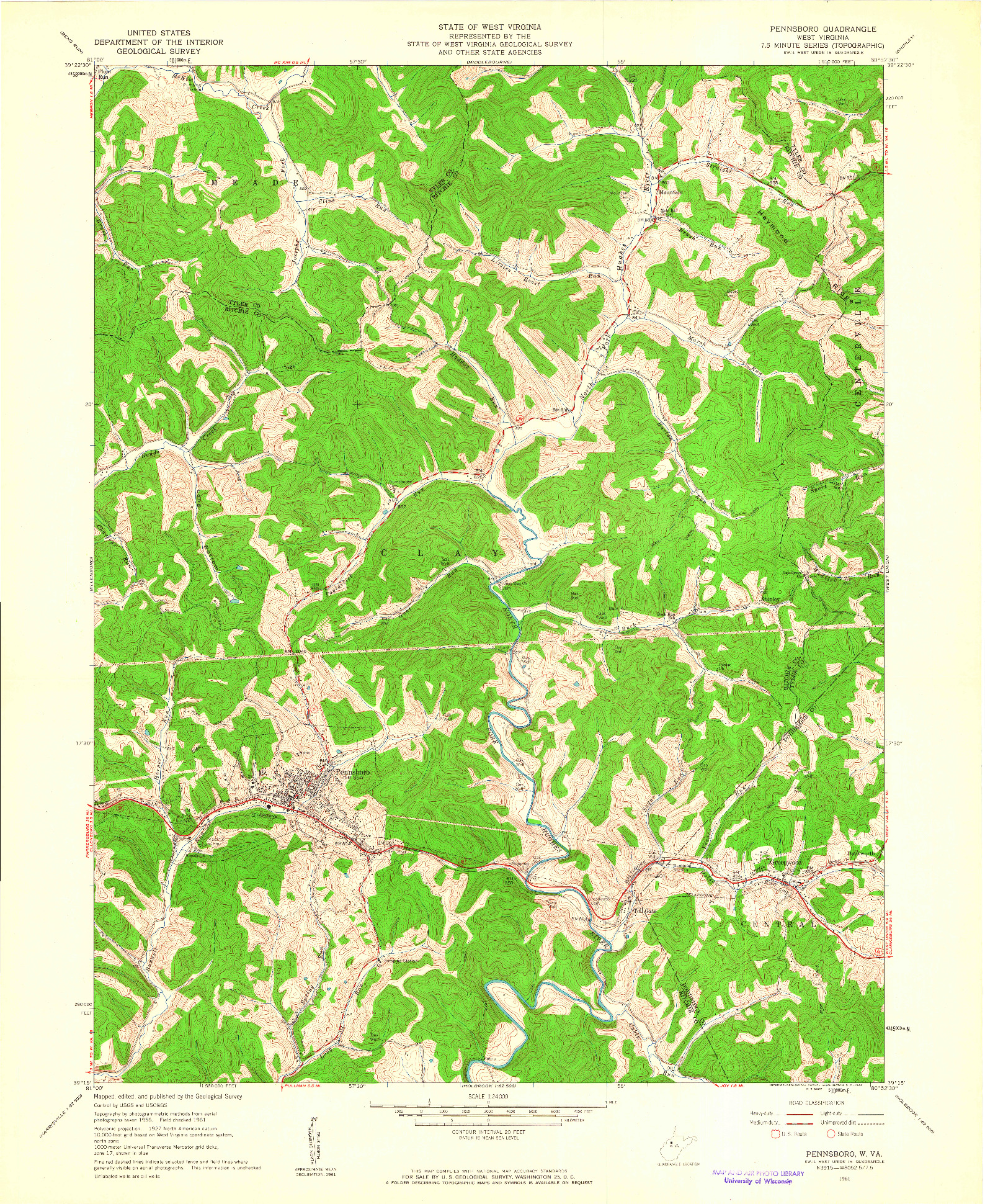 USGS 1:24000-SCALE QUADRANGLE FOR PENNSBORO, WV 1961