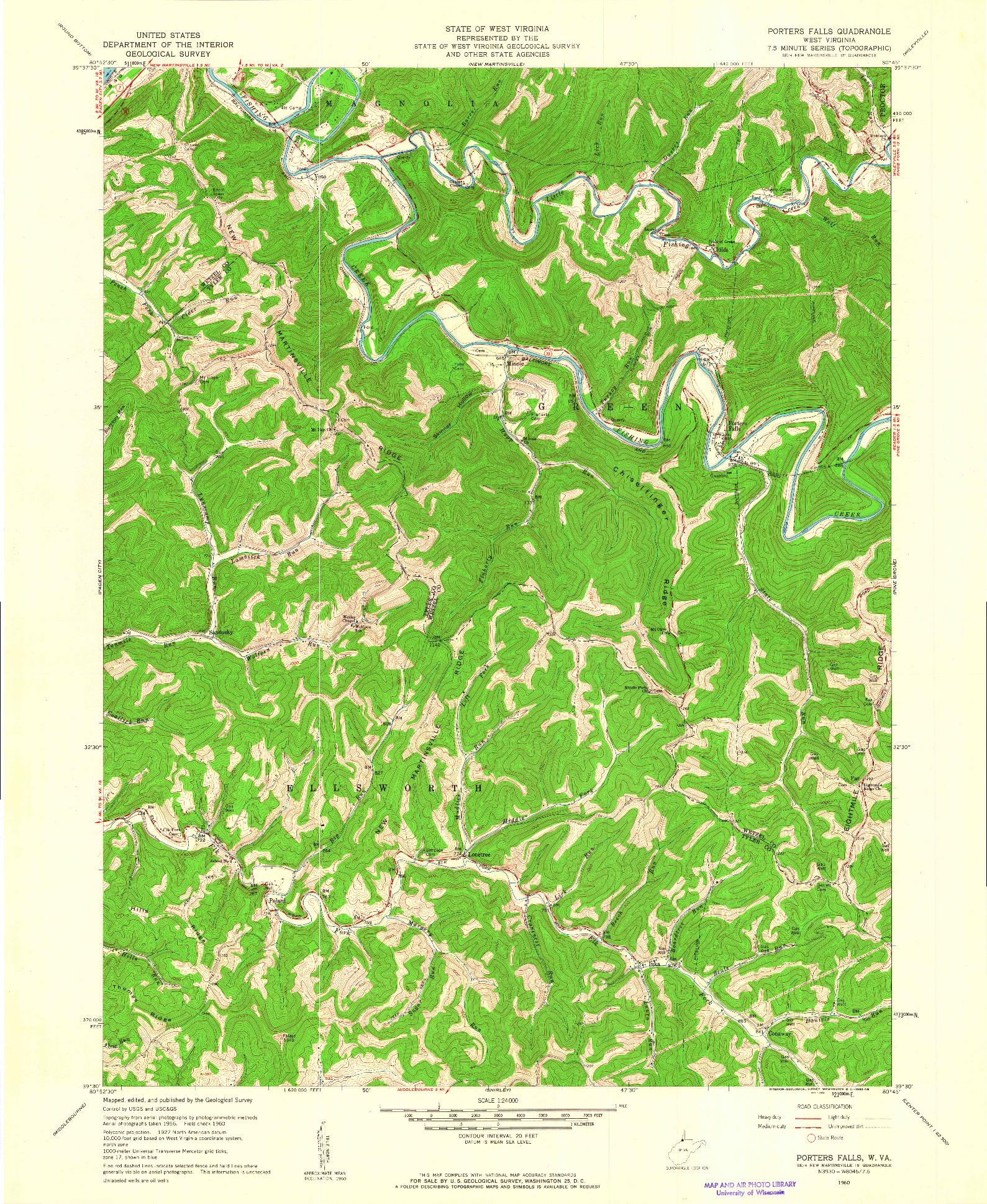 USGS 1:24000-SCALE QUADRANGLE FOR PORTERS FALLS, WV 1960