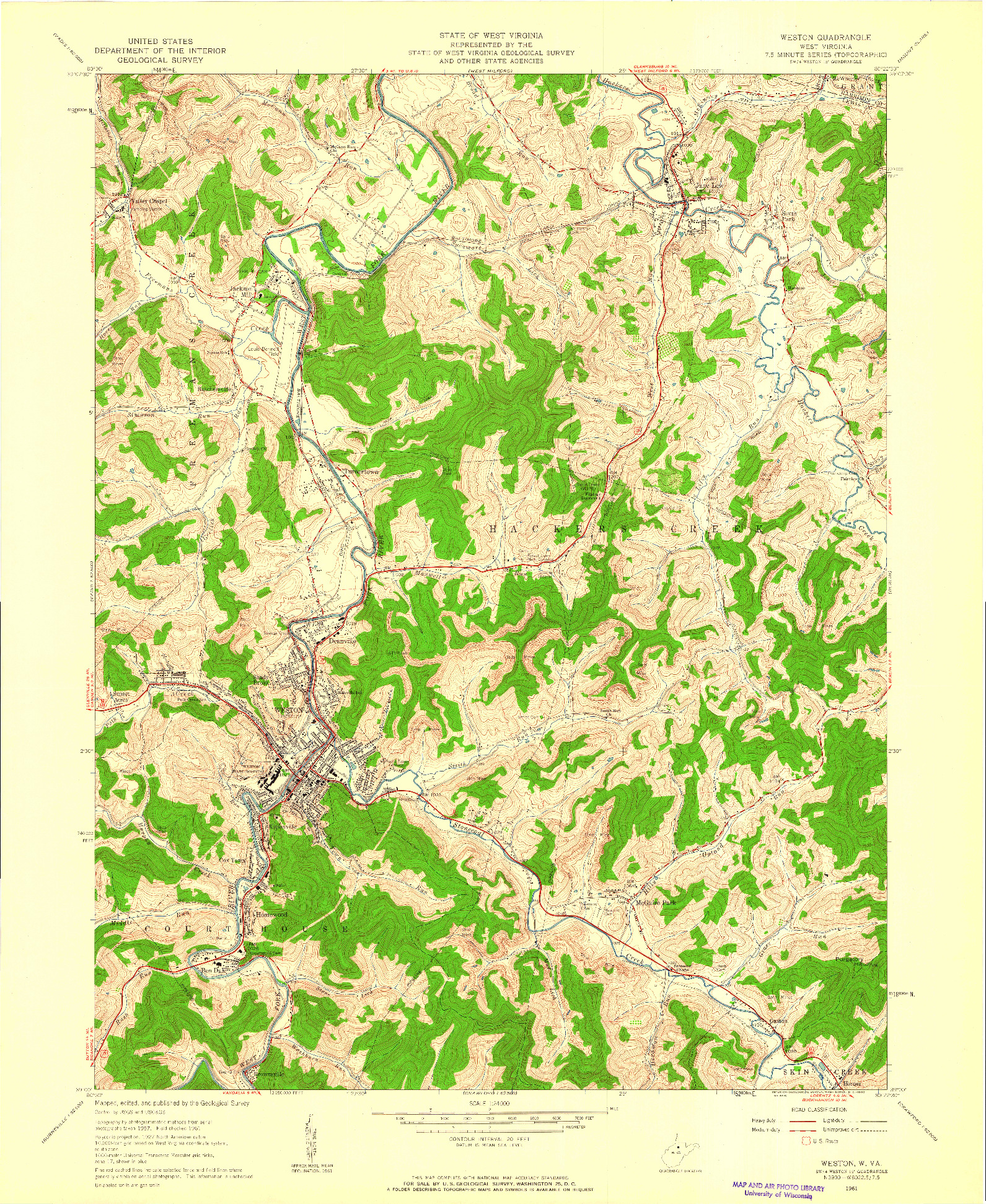 USGS 1:24000-SCALE QUADRANGLE FOR WESTON, WV 1961