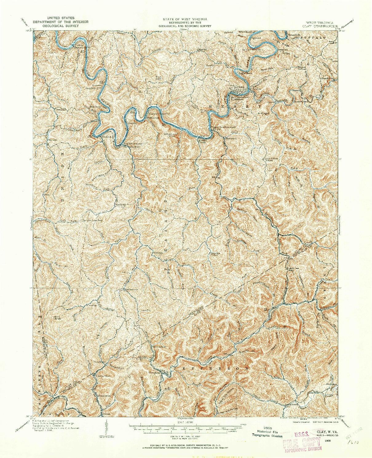 USGS 1:62500-SCALE QUADRANGLE FOR CLAY, WV 1908