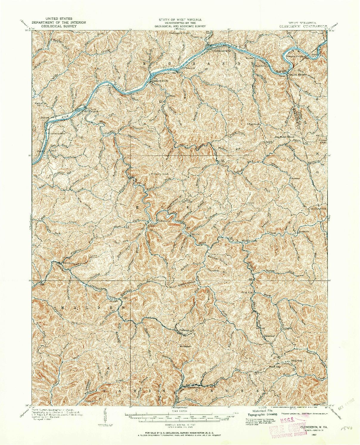 USGS 1:62500-SCALE QUADRANGLE FOR CLENDENIN, WV 1907
