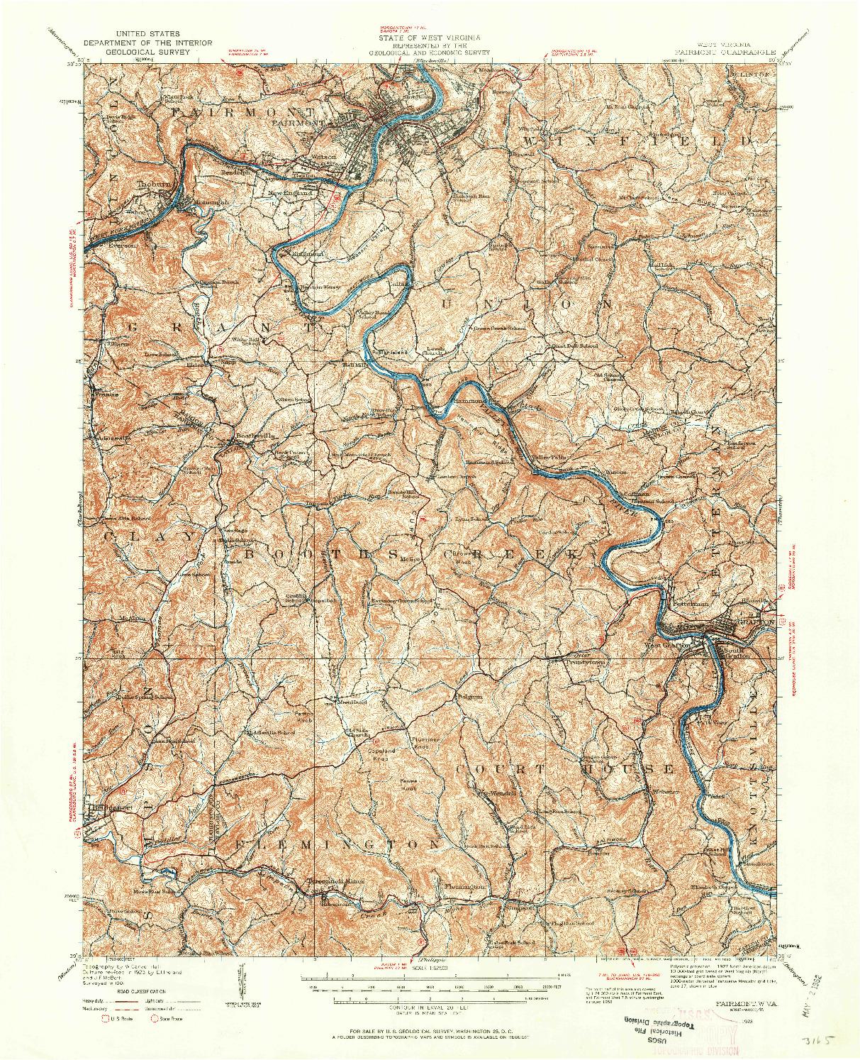 USGS 1:62500-SCALE QUADRANGLE FOR FAIRMONT, WV 1923
