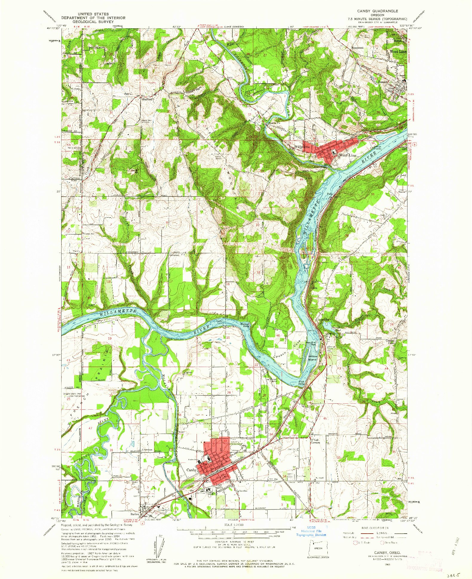 USGS 1:24000-SCALE QUADRANGLE FOR CANBY, OR 1961