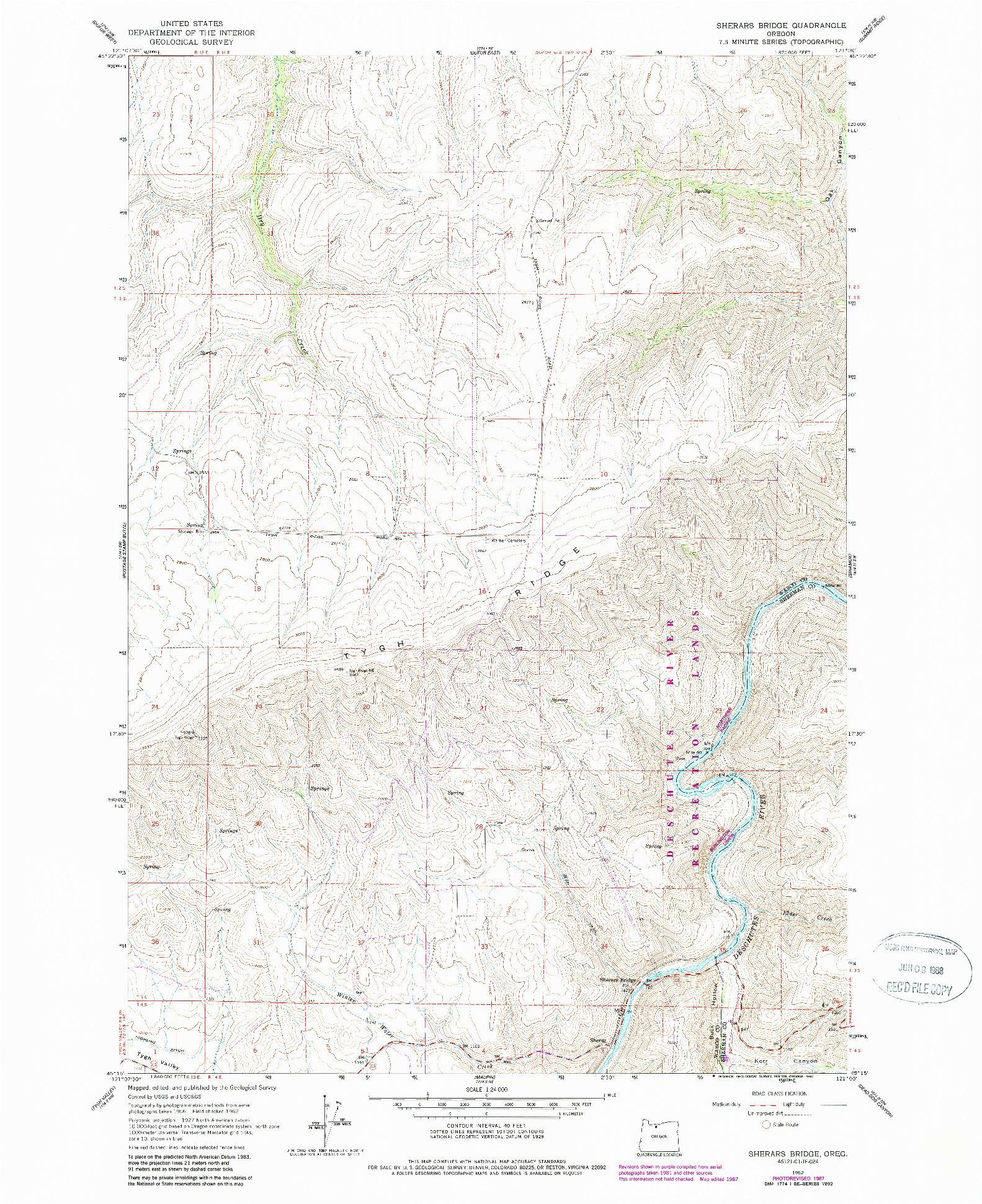 USGS 1:24000-SCALE QUADRANGLE FOR SHERARS BRIDGE, OR 1962
