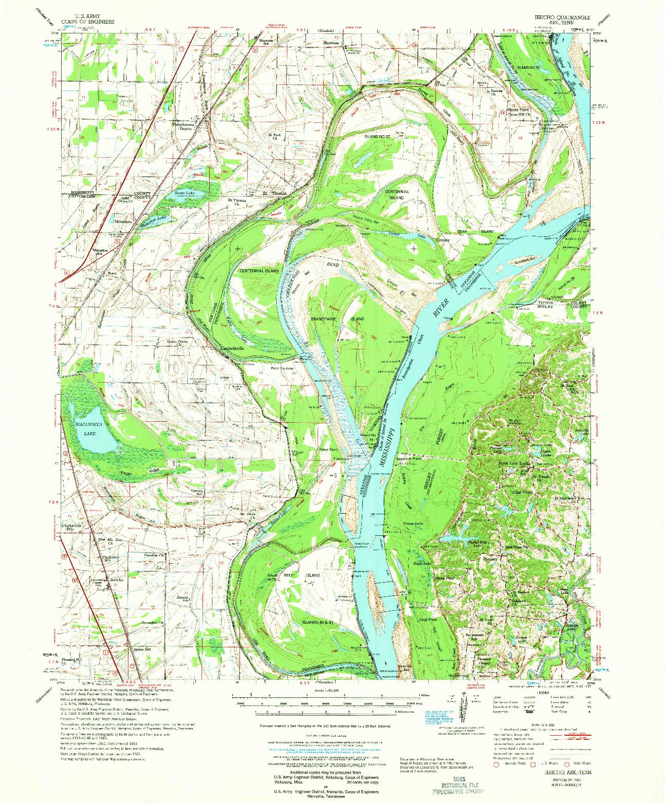 USGS 1:62500-SCALE QUADRANGLE FOR JERICHO, AR 1962
