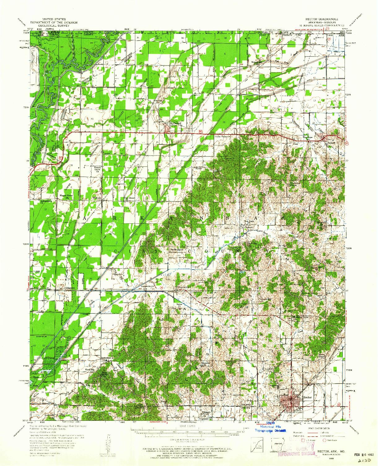 USGS 1:62500-SCALE QUADRANGLE FOR RECTOR, AR 1958