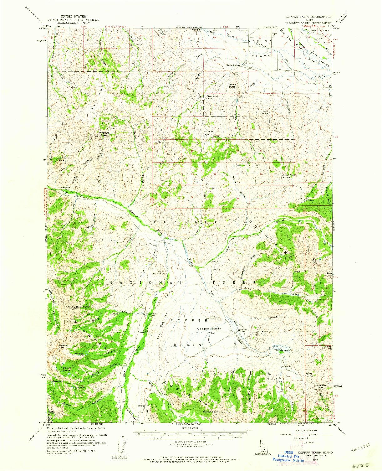 USGS 1:62500-SCALE QUADRANGLE FOR COPPER BASIN, ID 1960