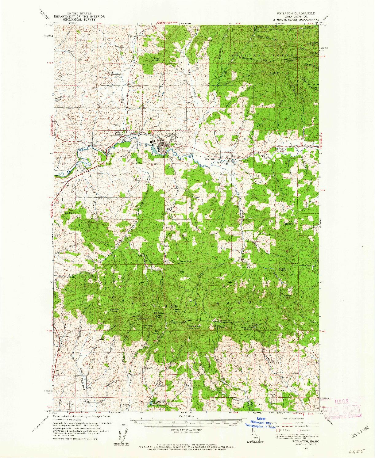 USGS 1:62500-SCALE QUADRANGLE FOR POTLATCH, ID 1960