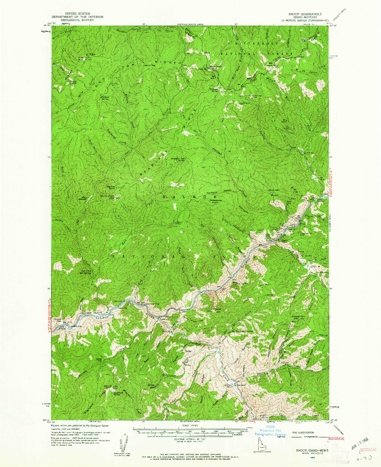 USGS 1:62500-SCALE QUADRANGLE FOR SHOUP, ID 1960