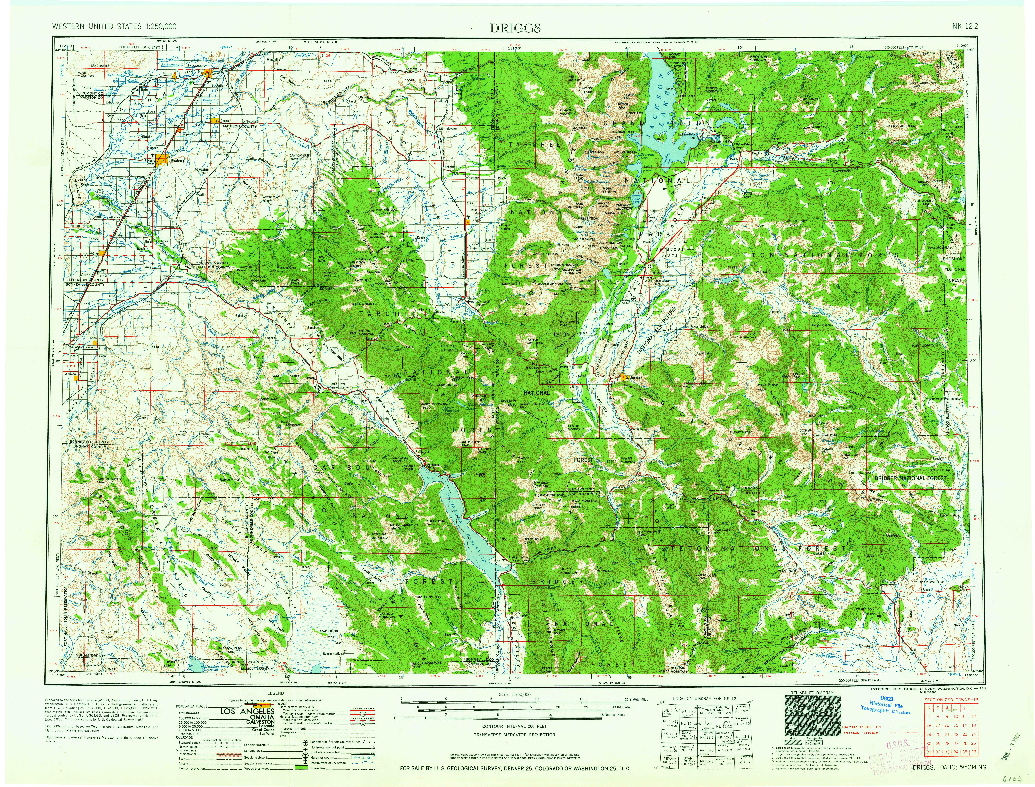 USGS 1:250000-SCALE QUADRANGLE FOR DRIGGS, ID 1962