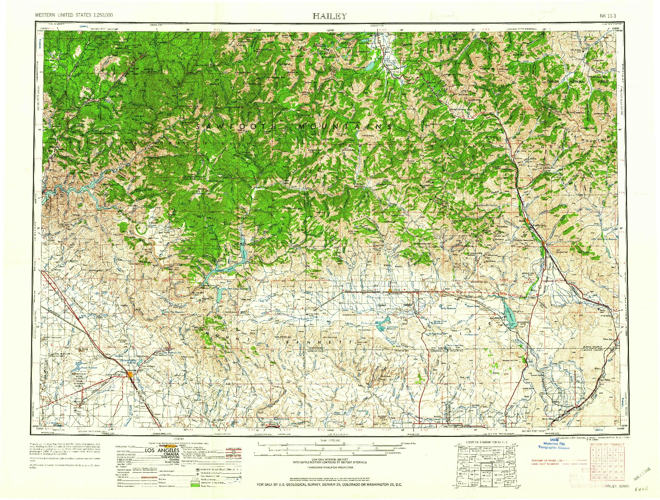 USGS 1:250000-SCALE QUADRANGLE FOR HAILEY, ID 1962