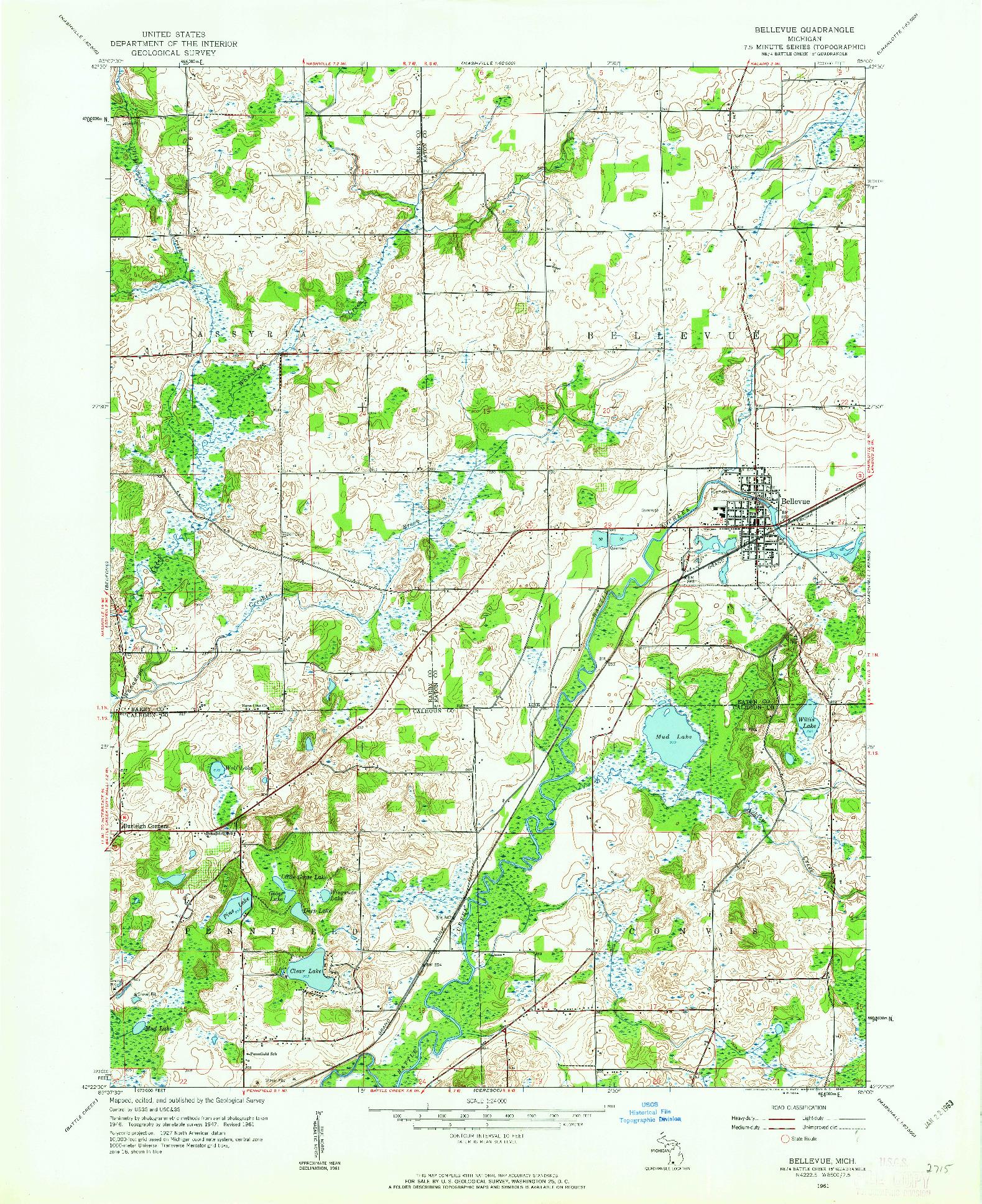 USGS 1:24000-SCALE QUADRANGLE FOR BELLEVUE, MI 1961