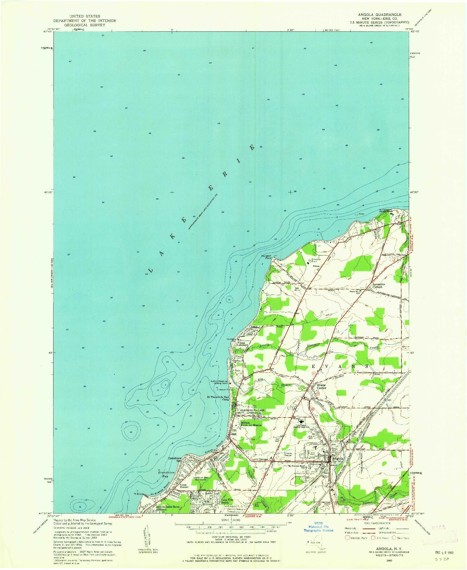 USGS 1:24000-SCALE QUADRANGLE FOR ANGOLA, NY 1960