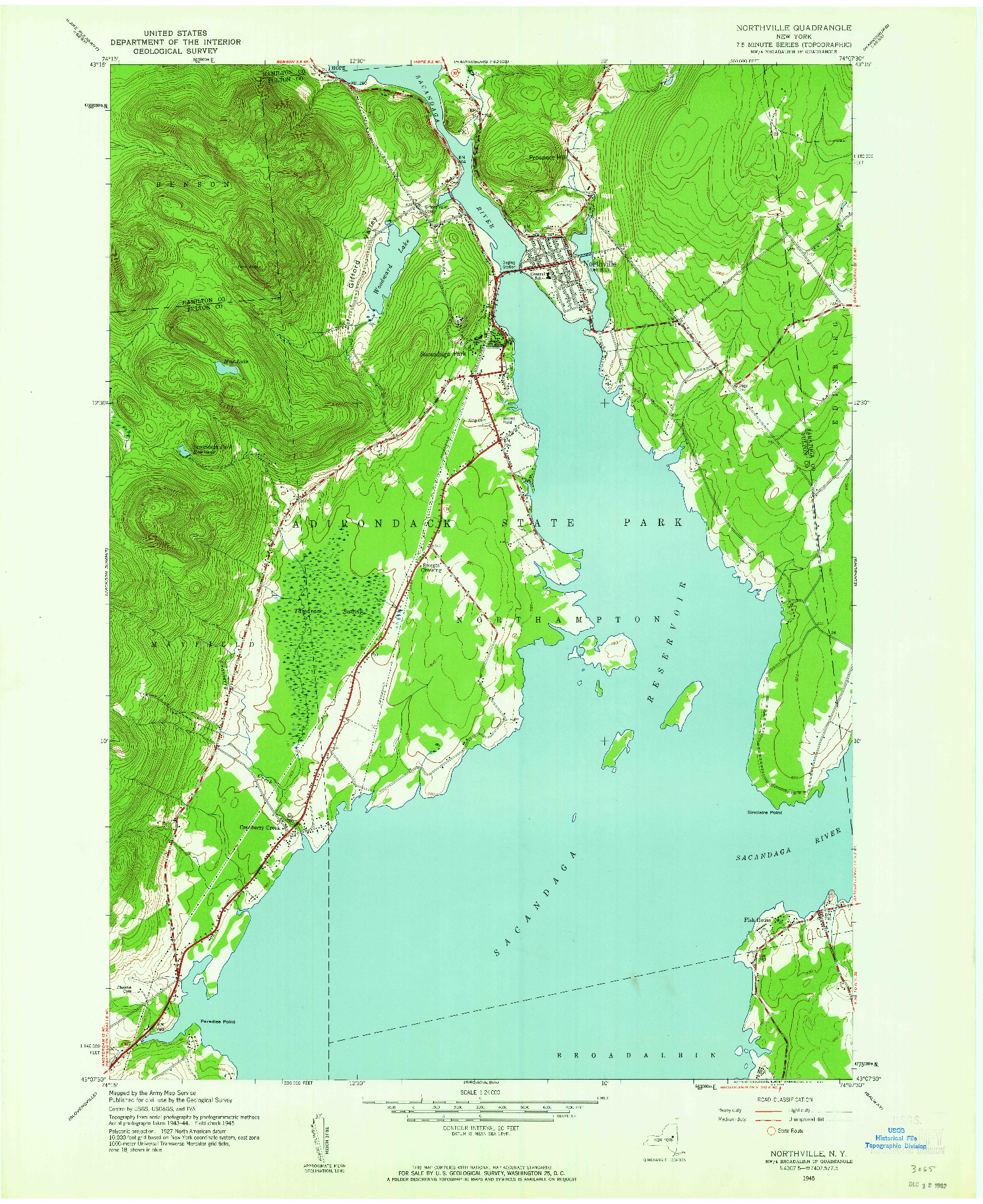 USGS 1:24000-SCALE QUADRANGLE FOR NORTHVILLE, NY 1945