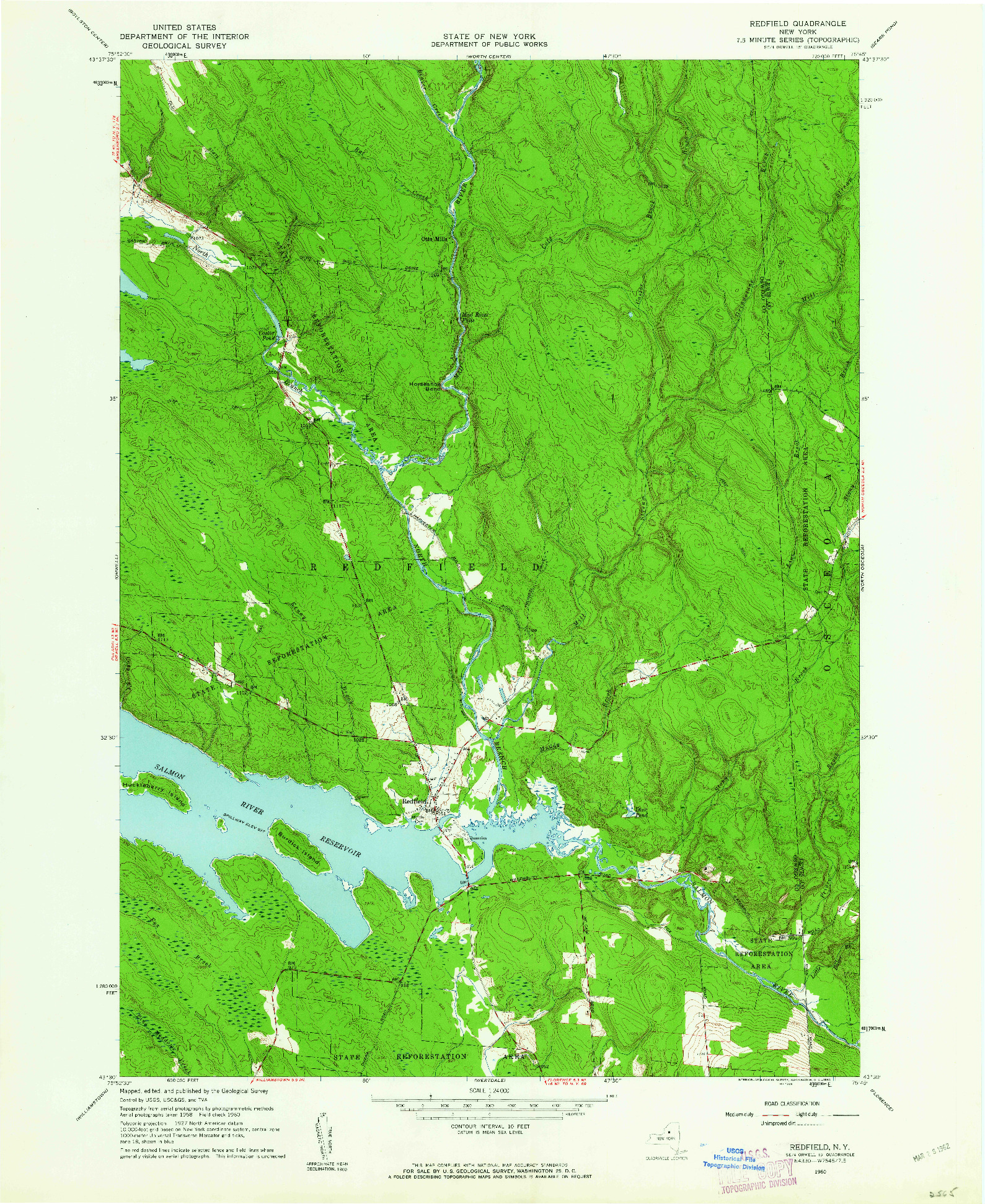 USGS 1:24000-SCALE QUADRANGLE FOR REDFIELD, NY 1960