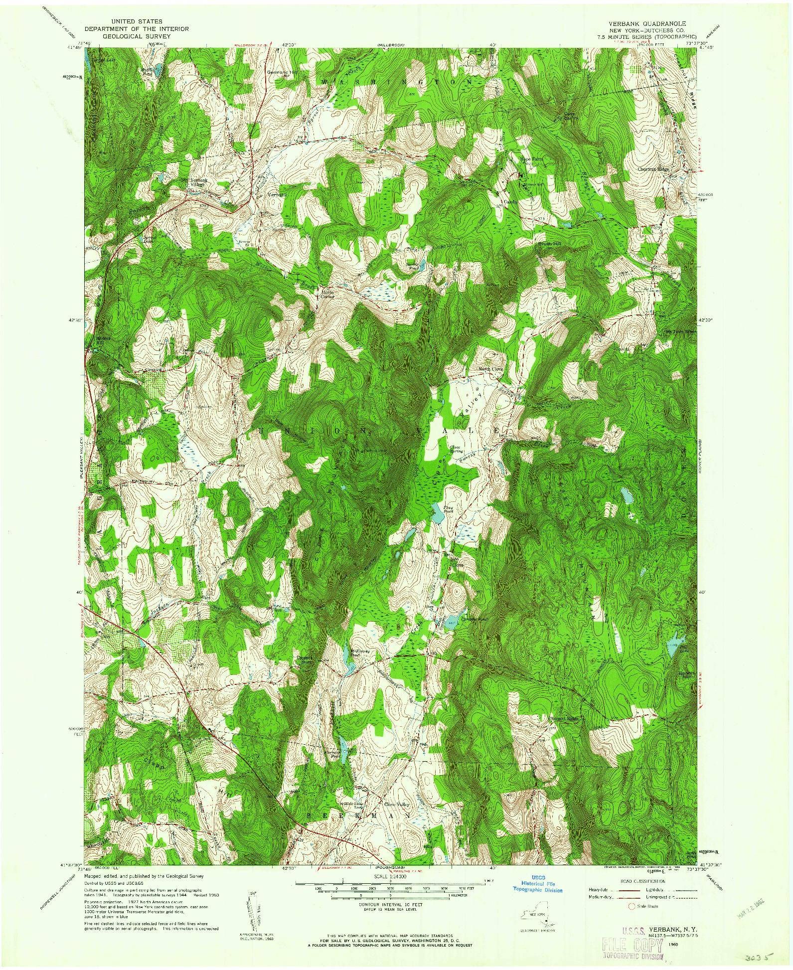 USGS 1:24000-SCALE QUADRANGLE FOR VERBANK, NY 1960