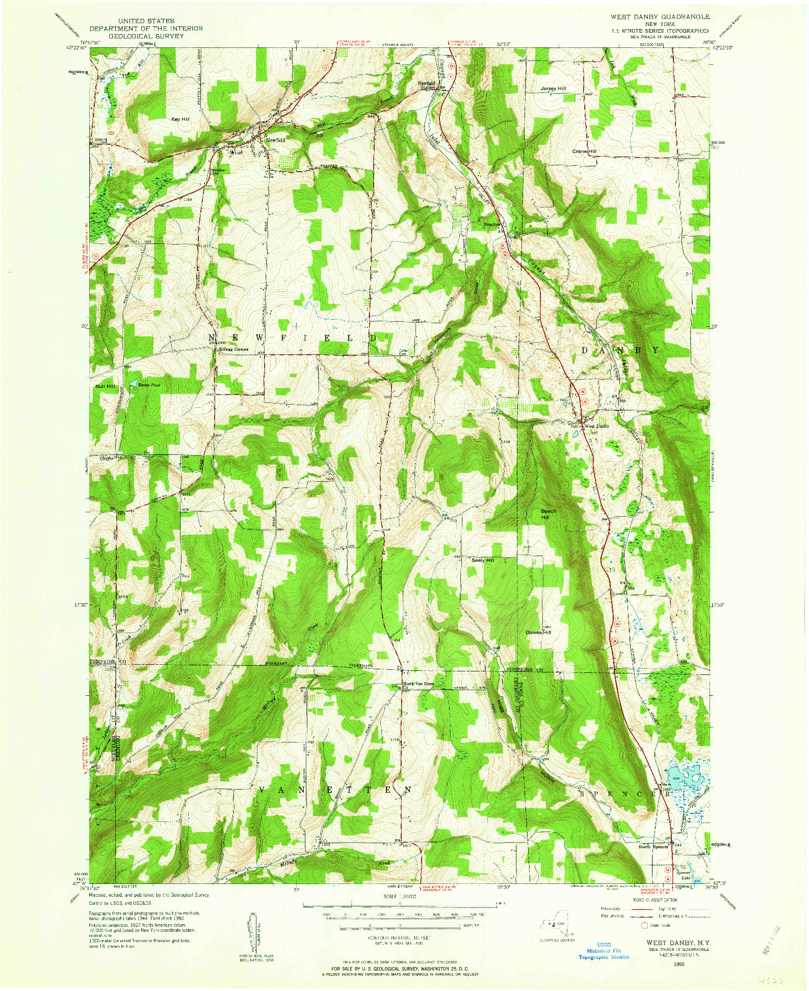 USGS 1:24000-SCALE QUADRANGLE FOR WEST DANBY, NY 1950
