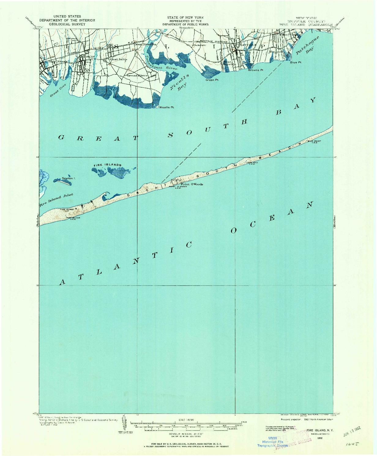 USGS 1:62500-SCALE QUADRANGLE FOR FIRE ISLAND, NY 1902