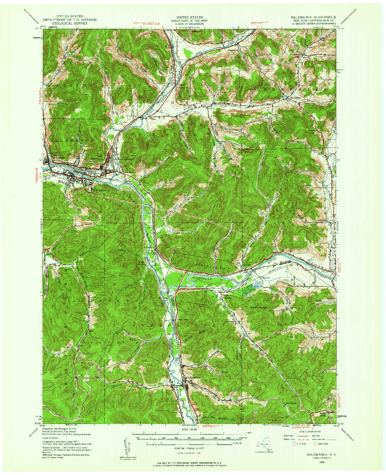USGS 1:62500-SCALE QUADRANGLE FOR SALAMANCA, NY 1938
