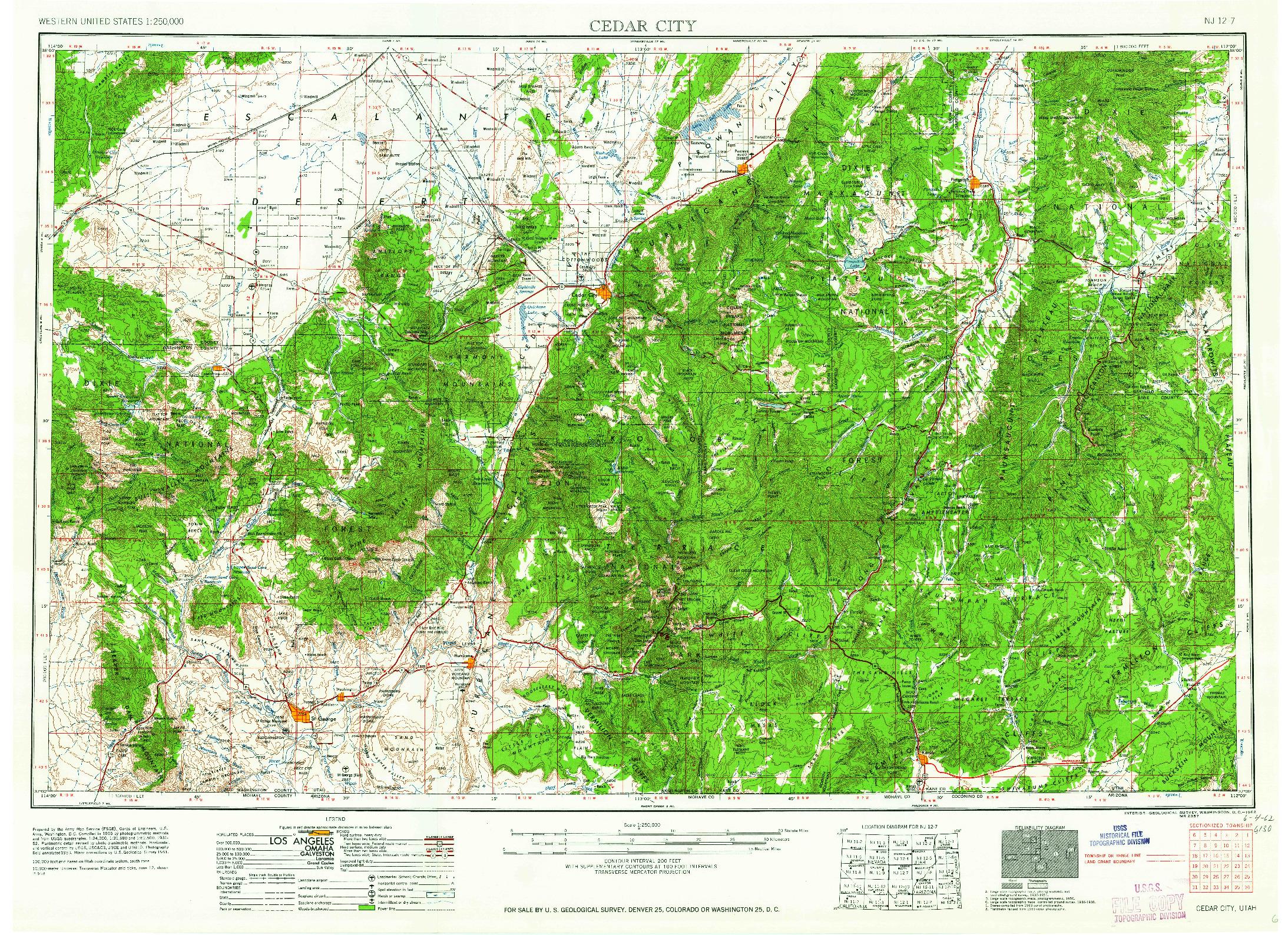 USGS 1:250000-SCALE QUADRANGLE FOR CEDAR CITY, UT 1962